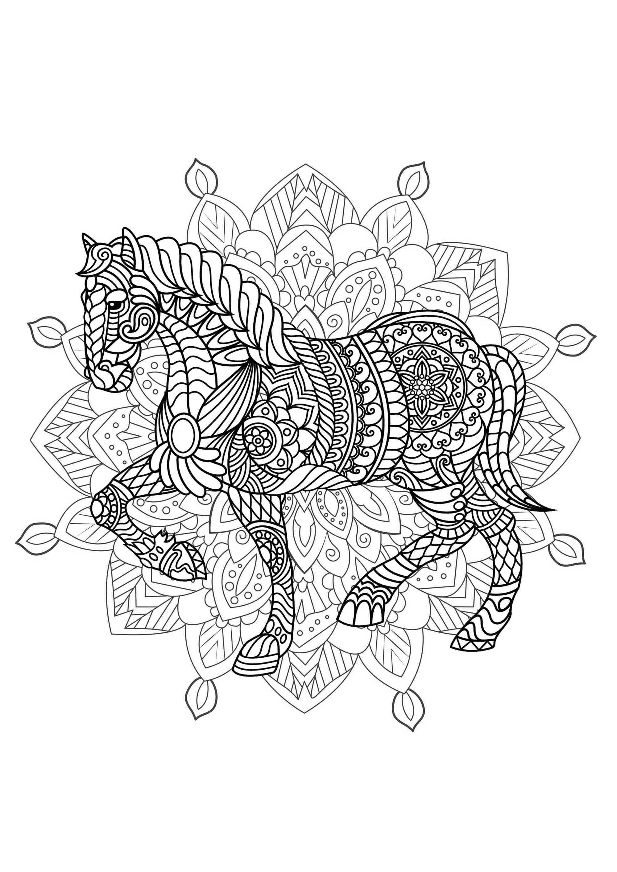 mandala with elegant horse and complex patterns m alas adult coloring pages. Black Bedroom Furniture Sets. Home Design Ideas