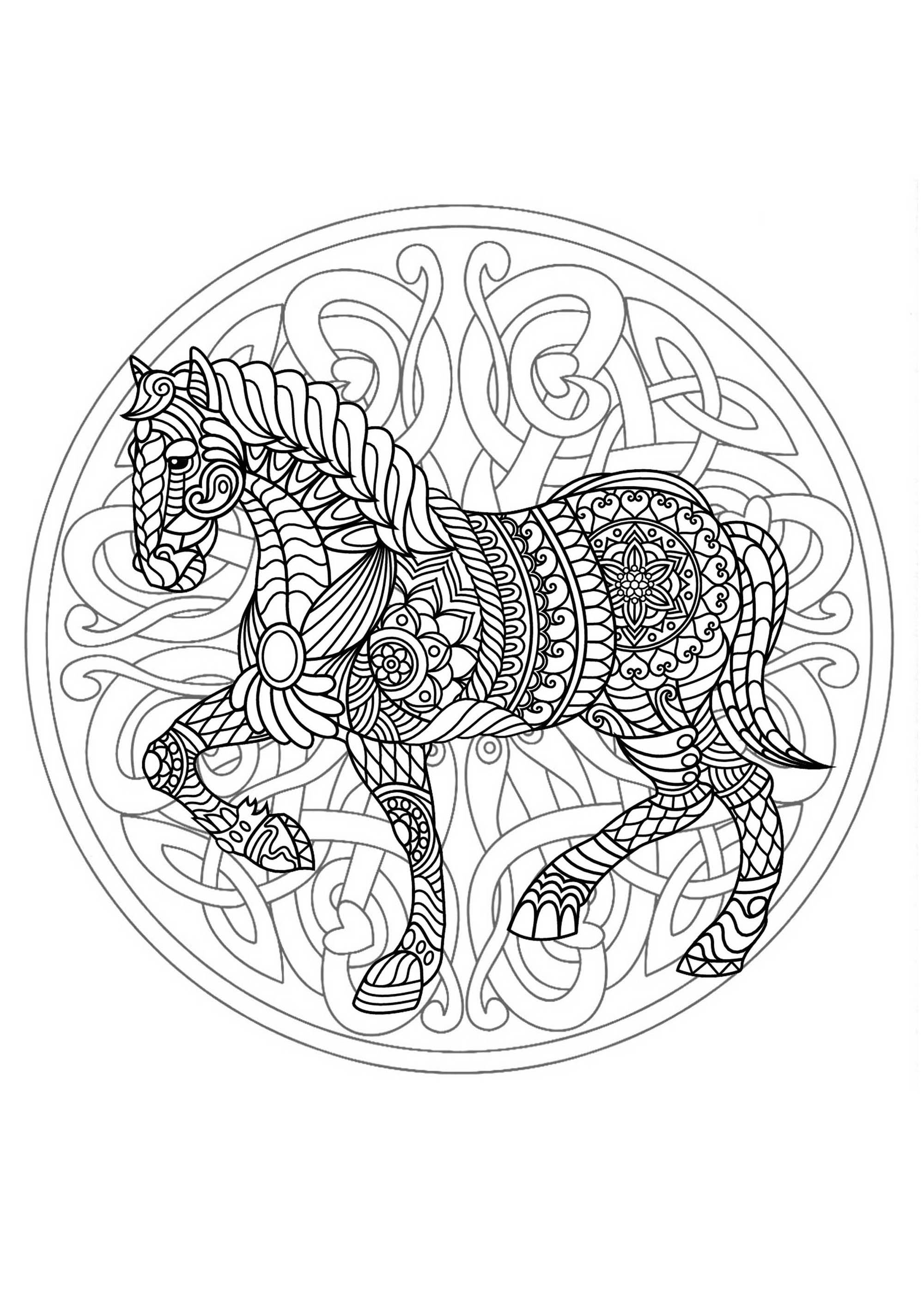 Mandala With Beautiful Horse And Interlaced Patterns M