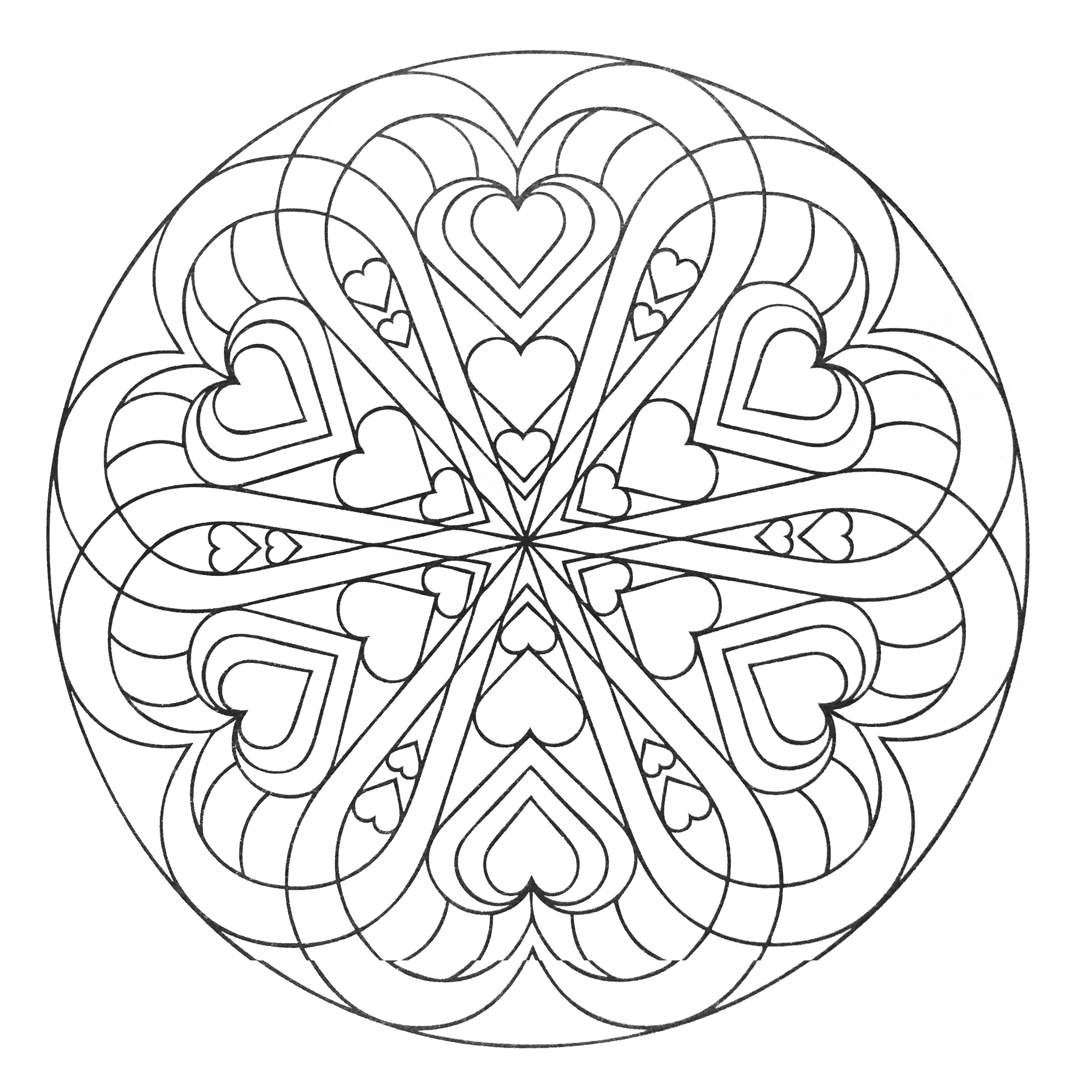 mandala hearts mandalas coloring pages for adults justcolor