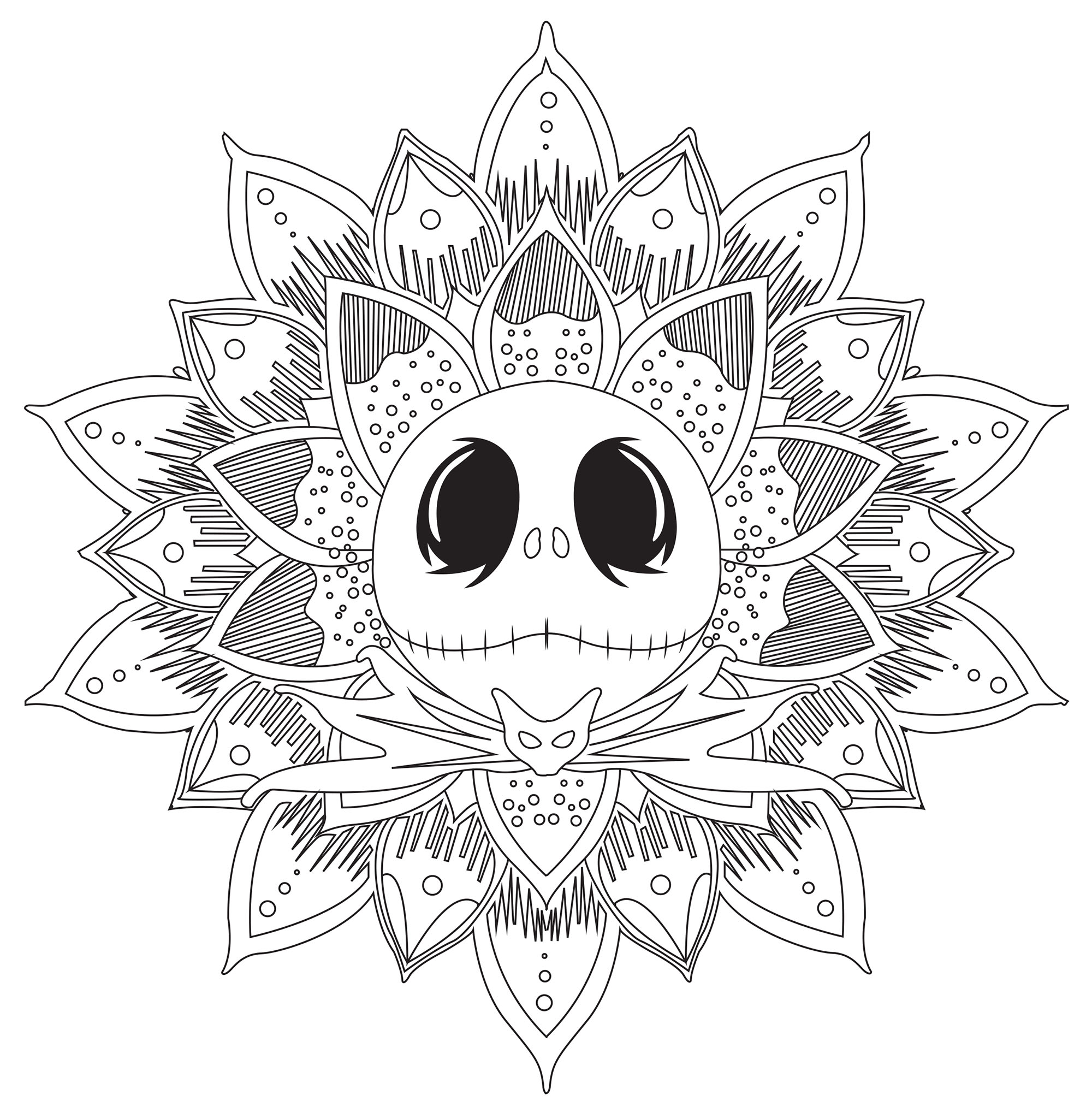 Jack Skellington Mandala - M&alas Adult Coloring Pages