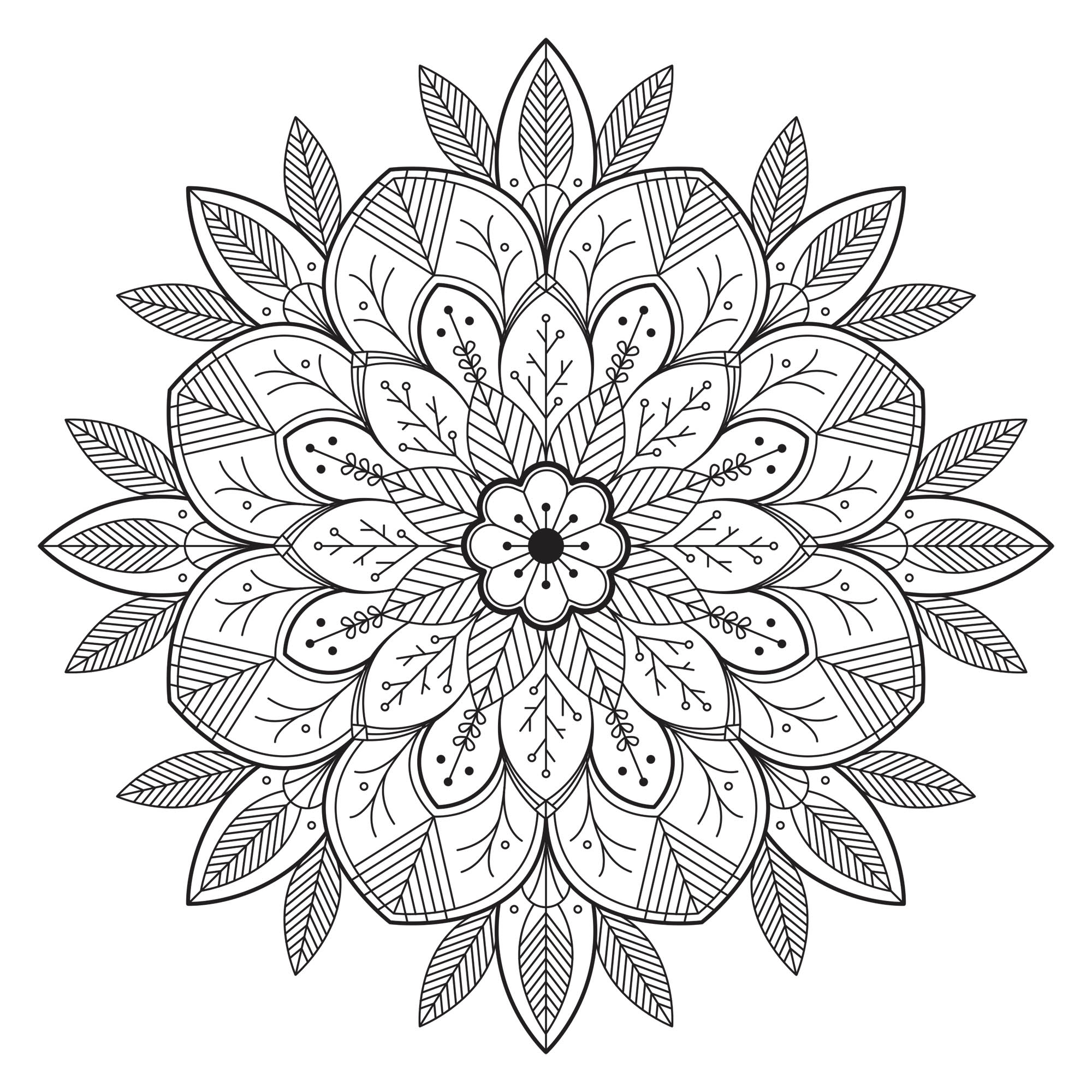 Simple Mandala with leaves and flowers. From the website Gifts.com