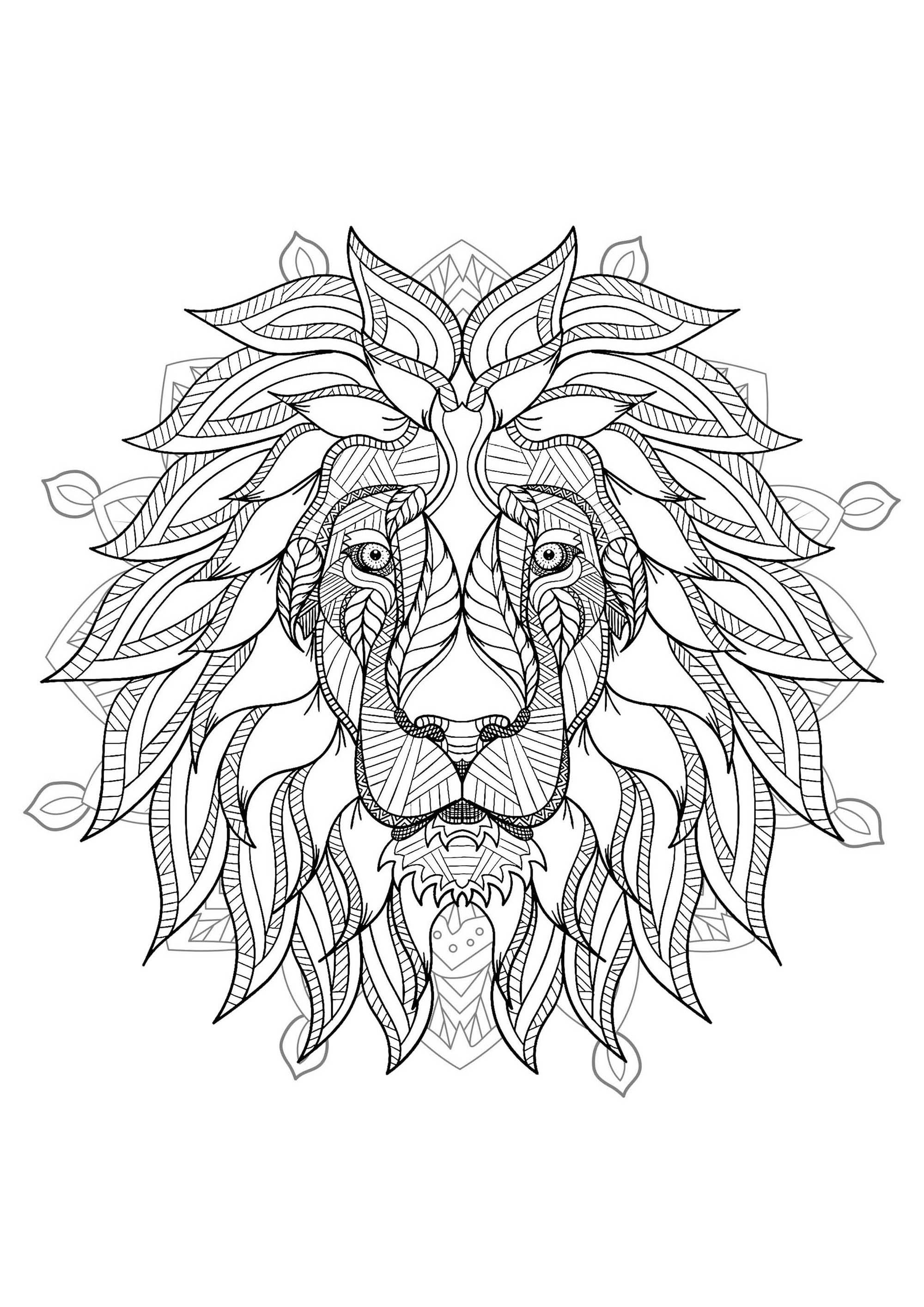 Mandala with elegant Lion head