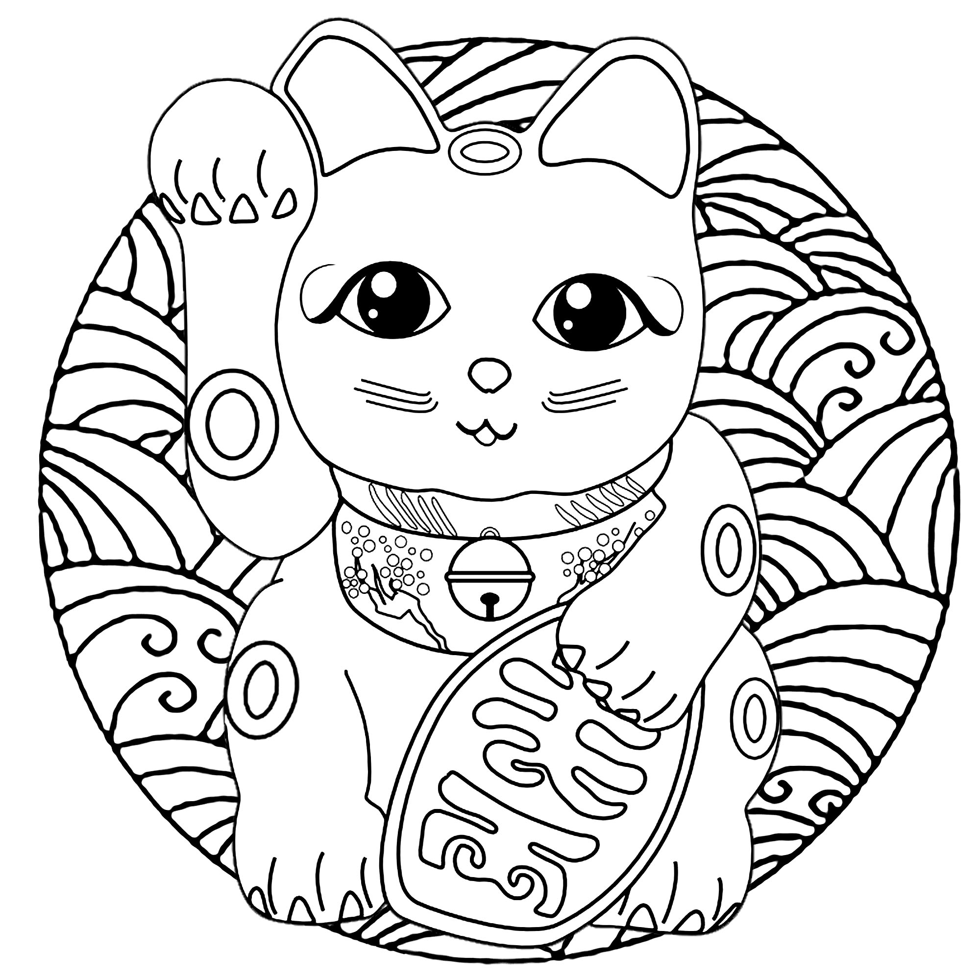 A cute Maneki Neko cat (Japanese figurine : lucky charm, talisman) in a Mandala full of waves (Japanese graphic design style)