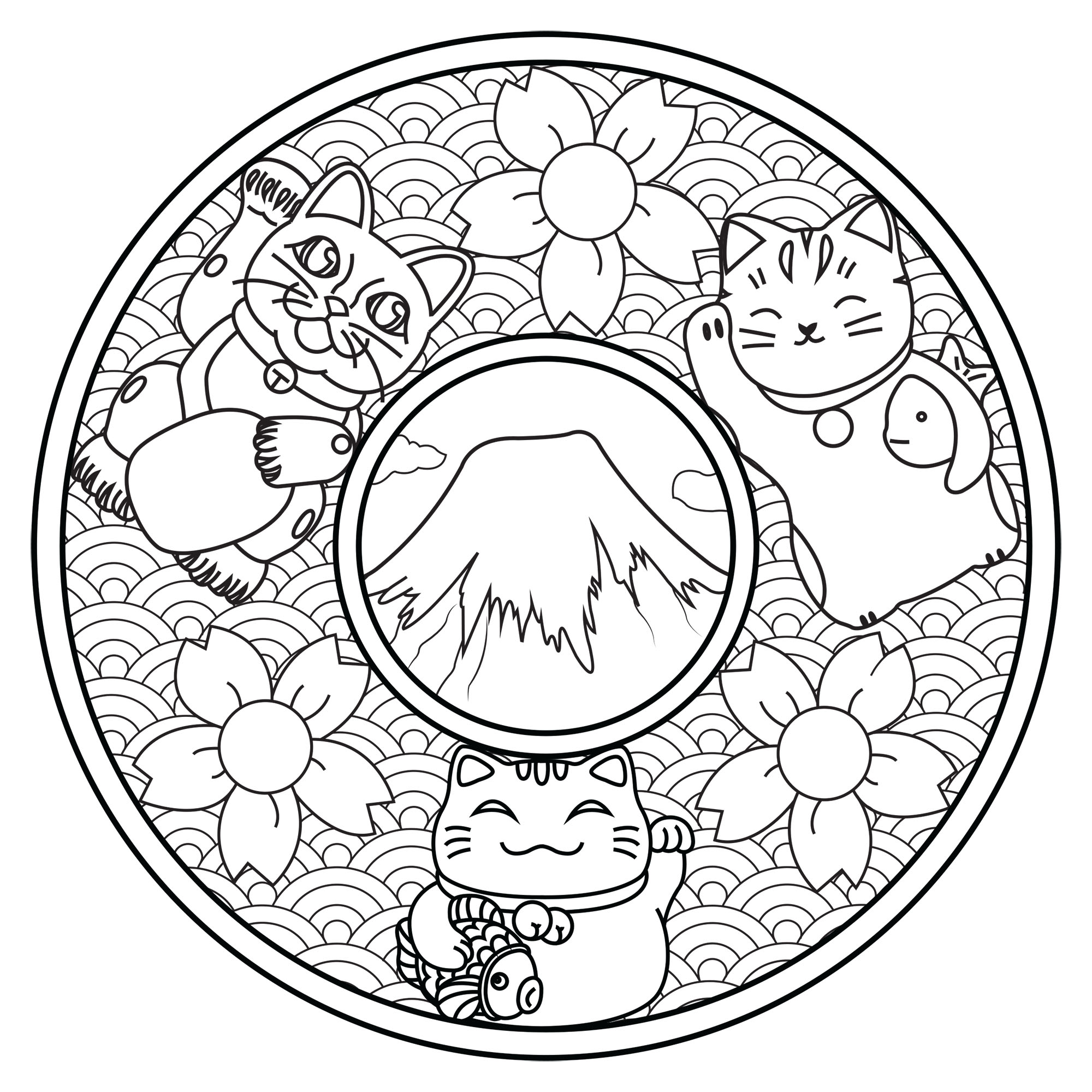 Color these three cute cats on this Mandala inspired by Japan : Mount Fuji, Cherry Blossom flowers, waves ...