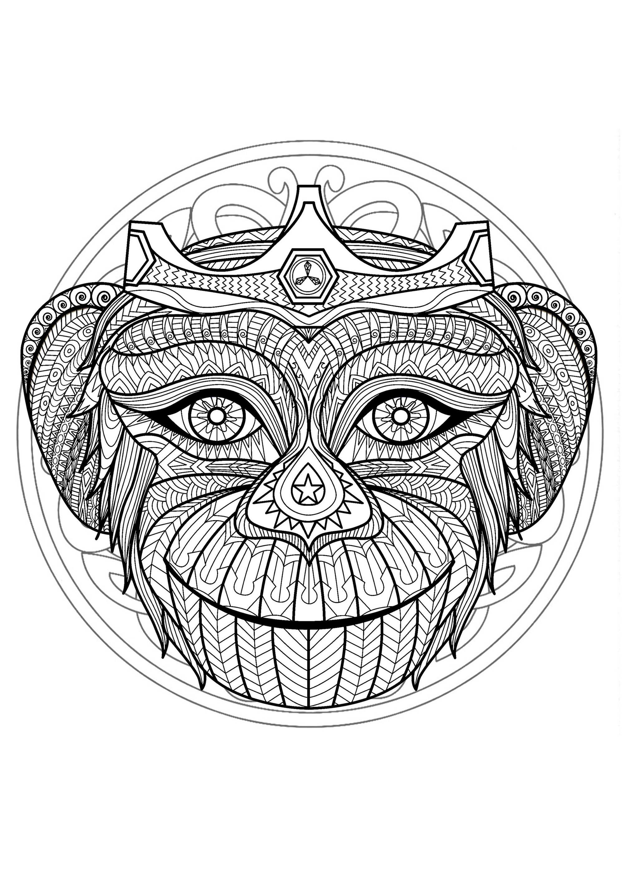 Mandala to color with very gorgeous Monkey head and beautiful interlaced patterns in background