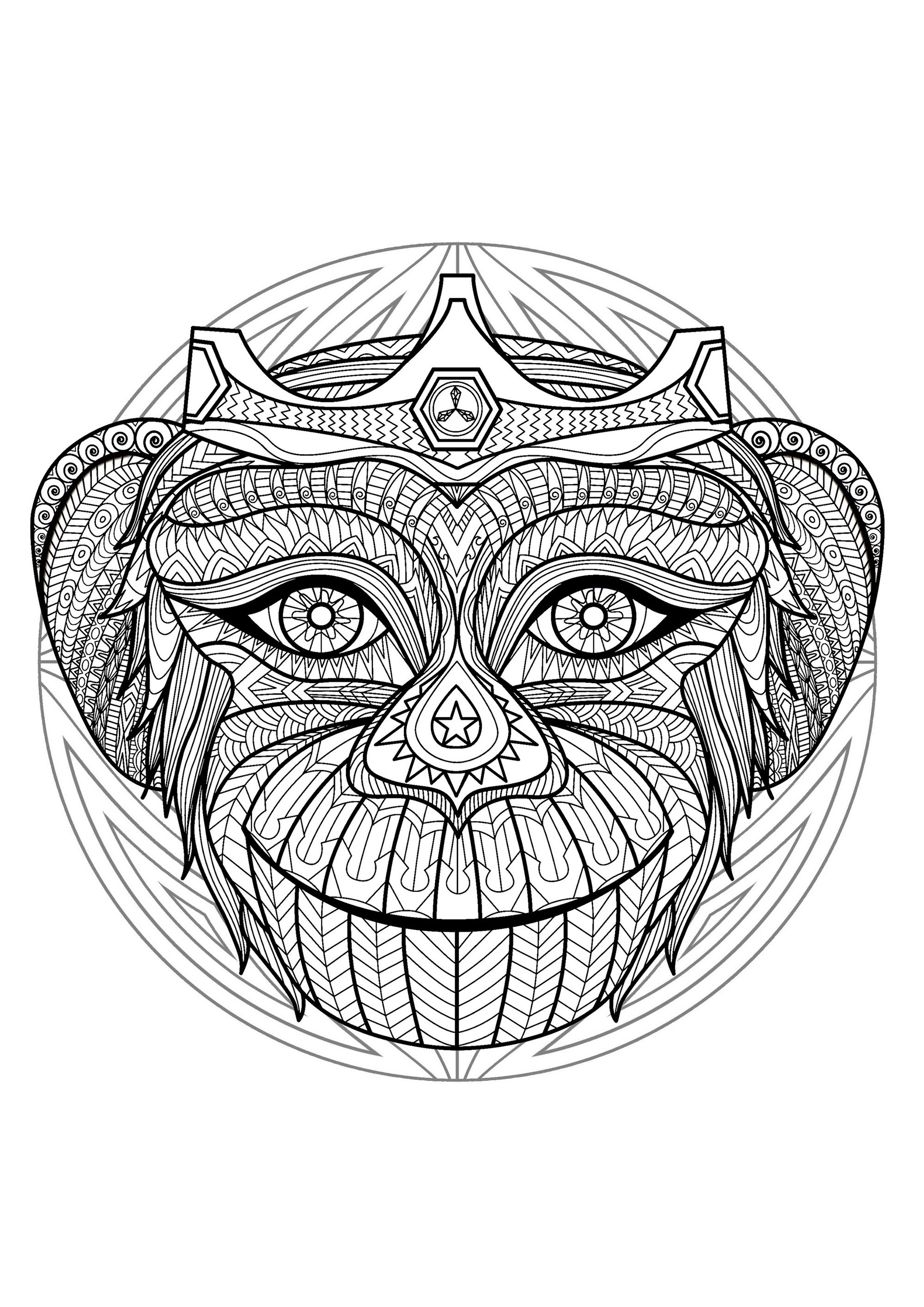 Mandala With Beautiful Monkey Head And Geometric Patterns