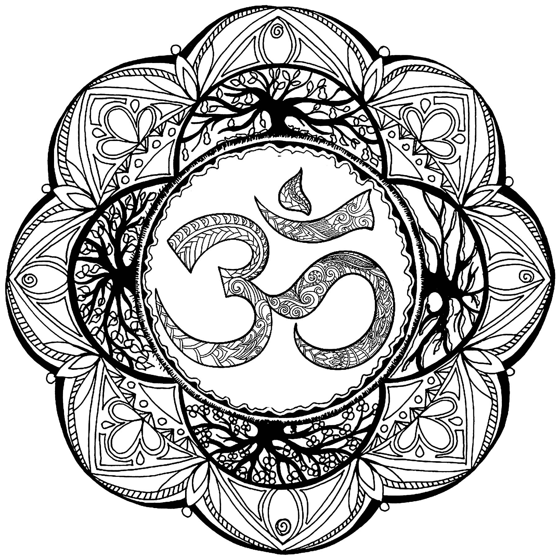 Om symbol in a plex Mandala M alas Adult Coloring Pages