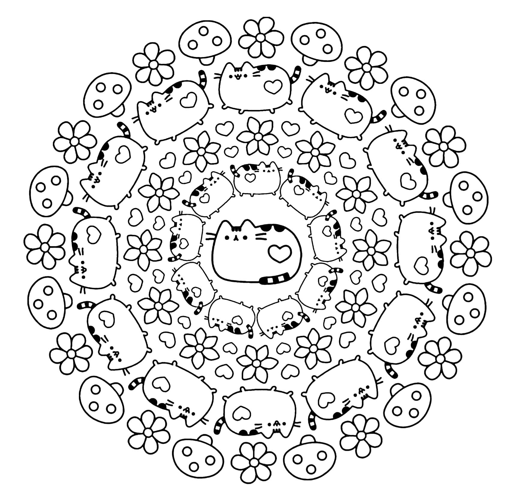 Coloring mandala pusheen cat kawaii