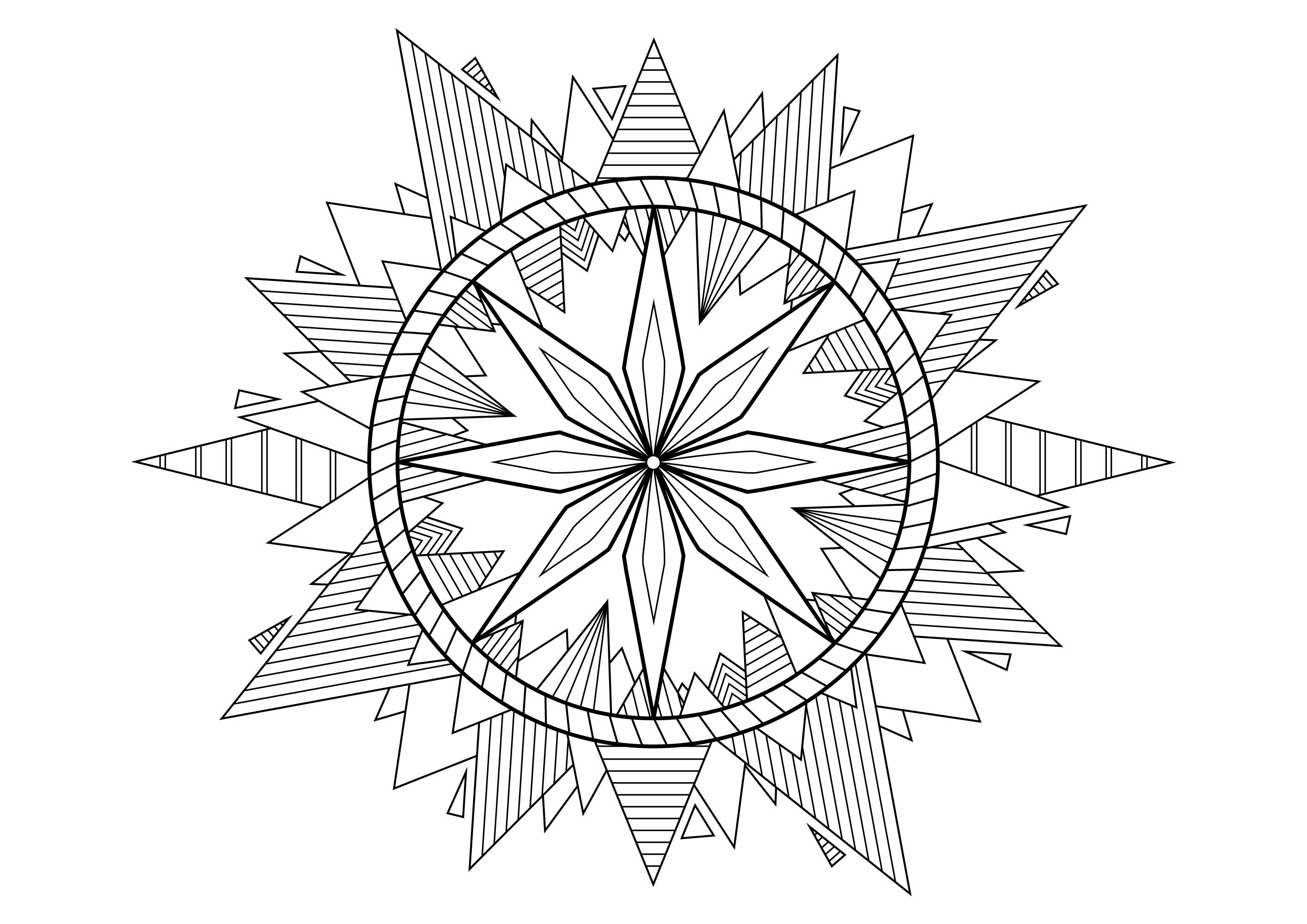 A beautiful Mandala with pyramids in ends full of nice patterns to color.