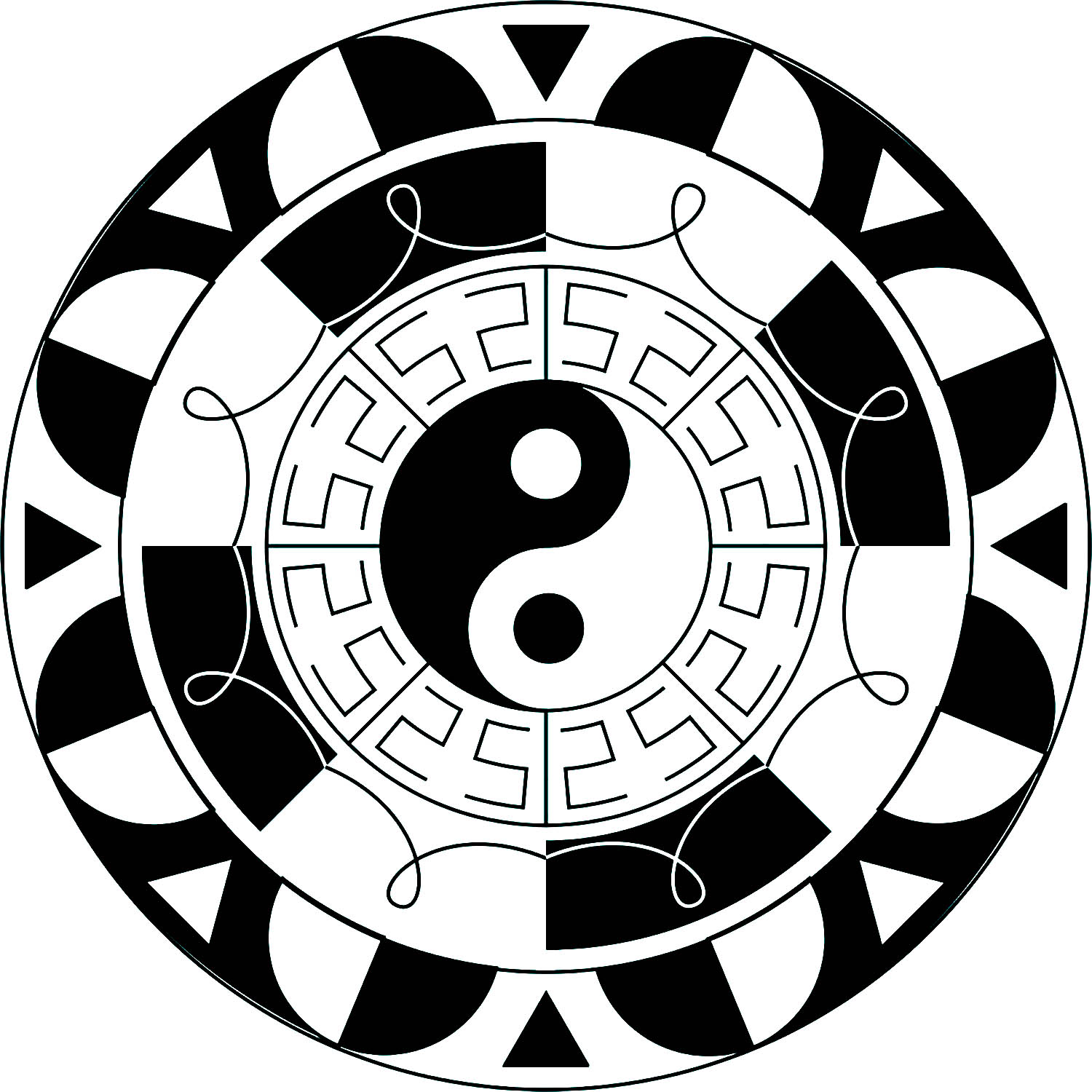 Yin & Yang is an ancient Chinese symbol which represents dual nature of things like light and dark, good and evil, positive and negative.