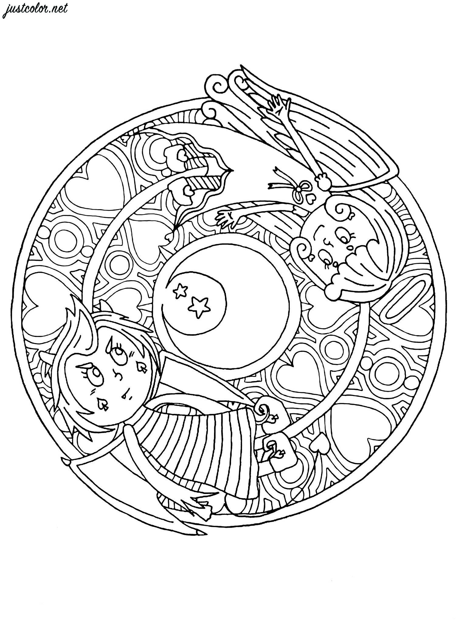 Soothing mandala featuring two young girls : an angel and a demon.