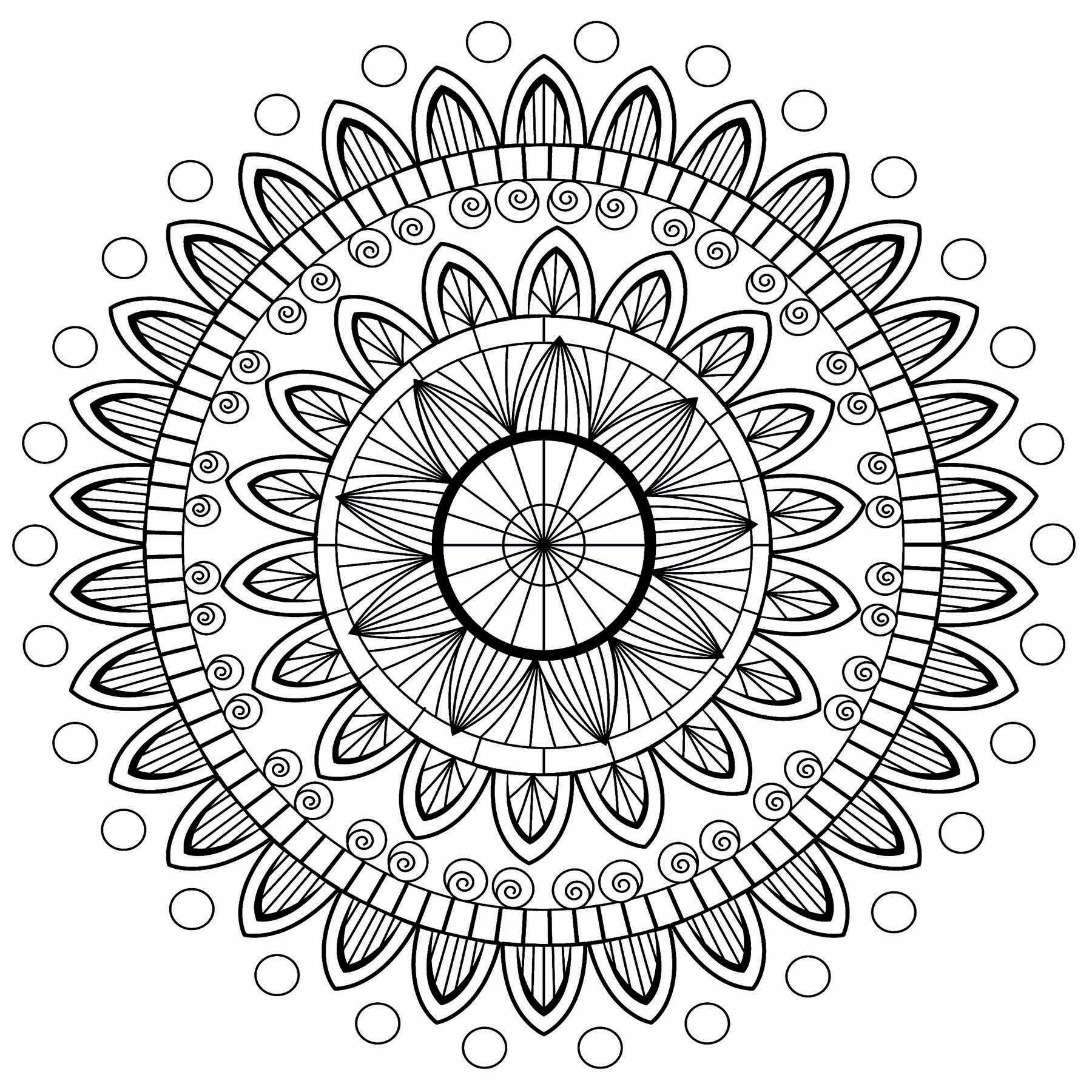 A beautiful Mandala with petals on several levels, and circles at the ends.