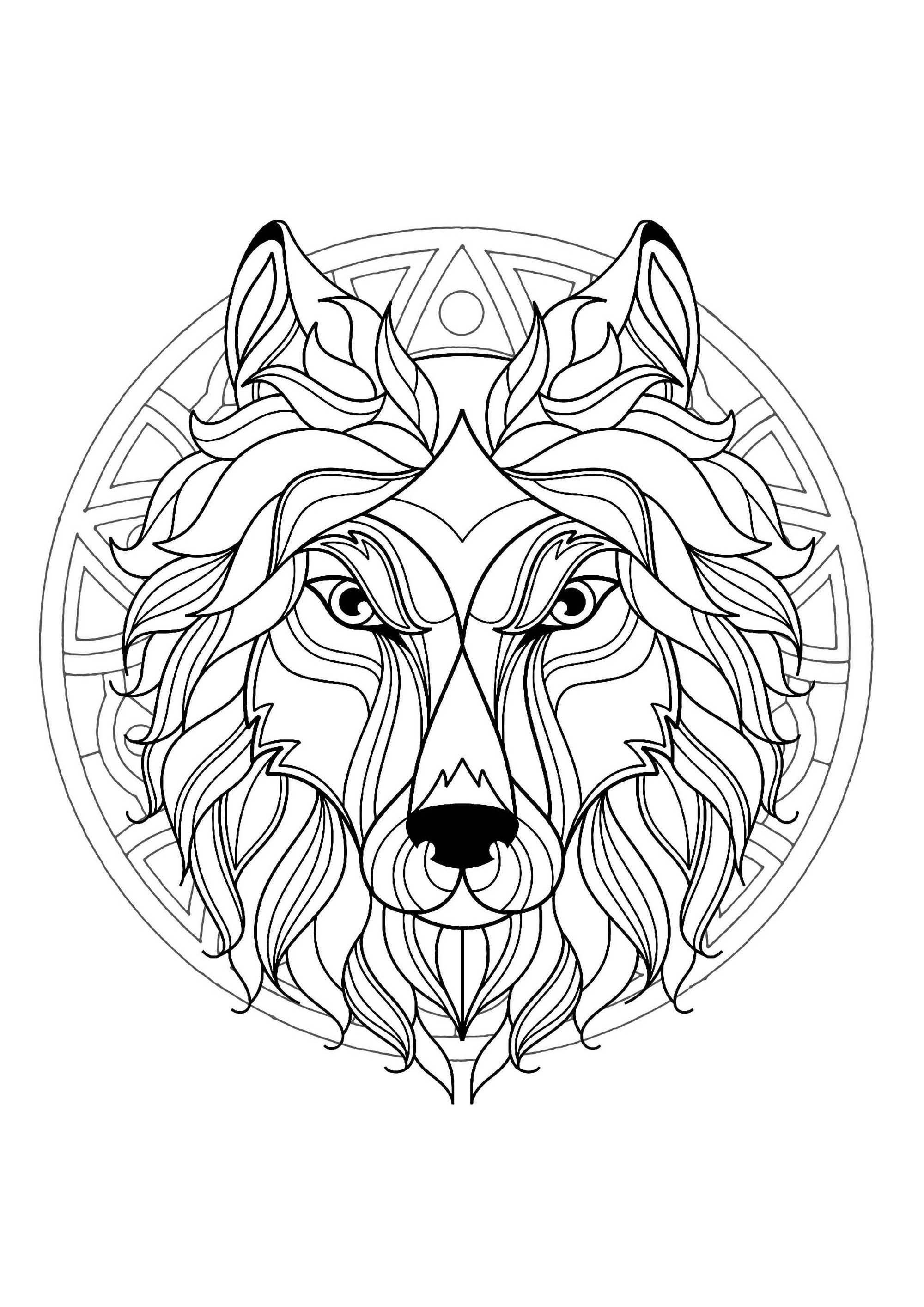 Mandala with beautiful Wolf head