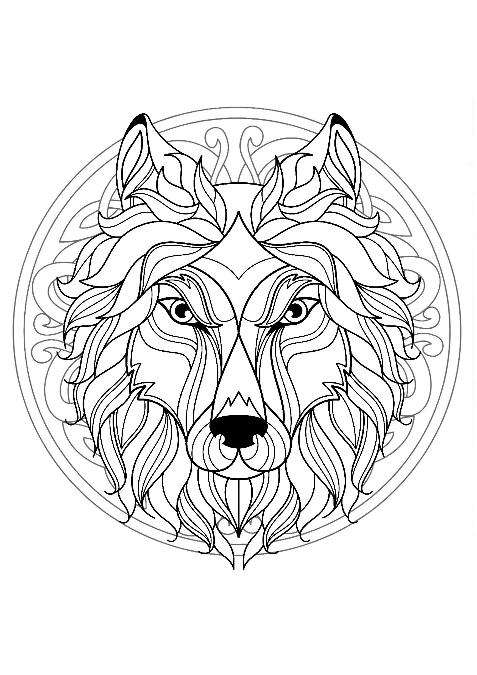 mandala with beautiful wolf head and interlaced patterns m alas adult coloring pages. Black Bedroom Furniture Sets. Home Design Ideas