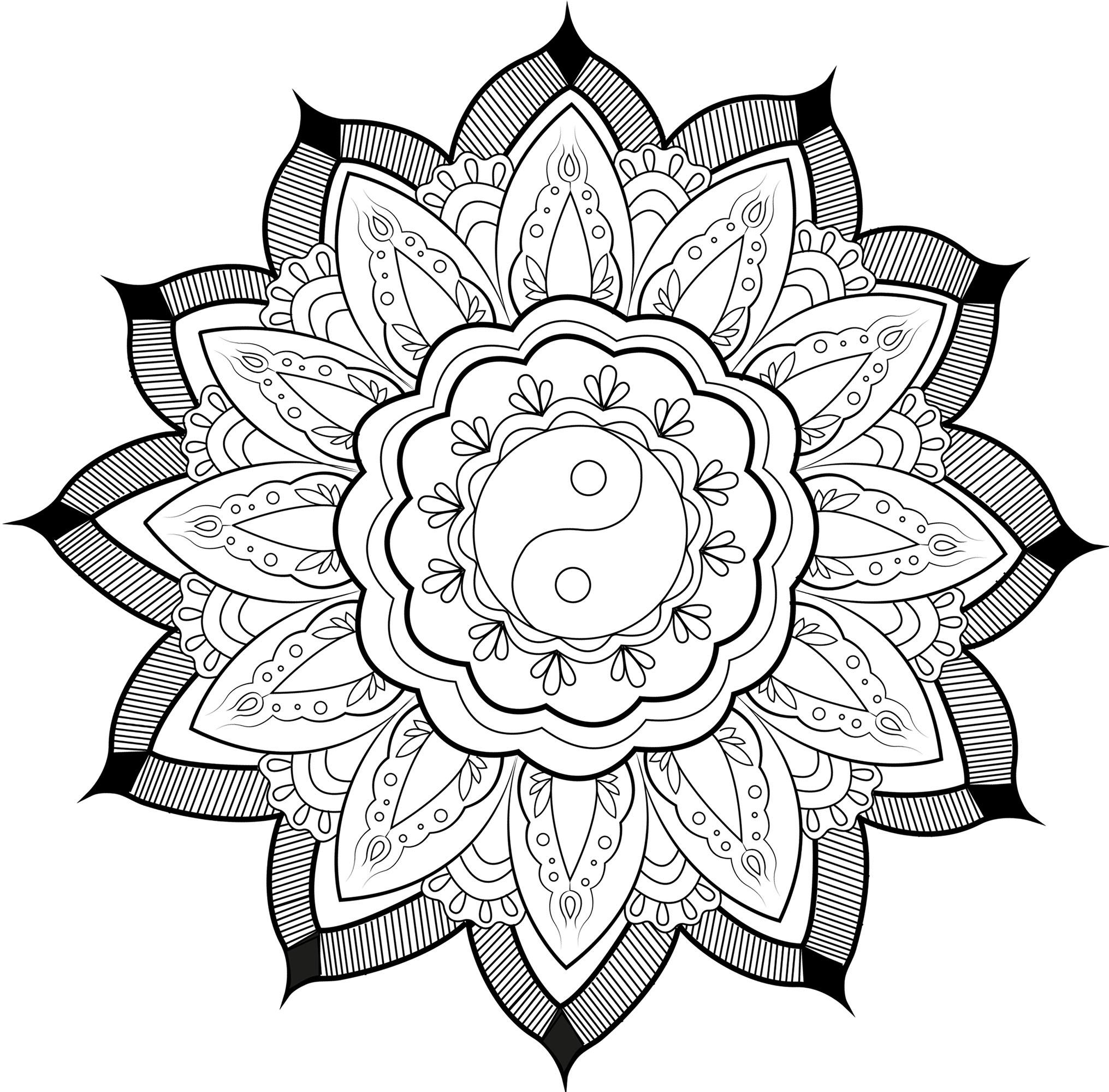 Joli Mandala avec un symbole Yin & Yang au milieu, et de jolies feuilles l'entourant