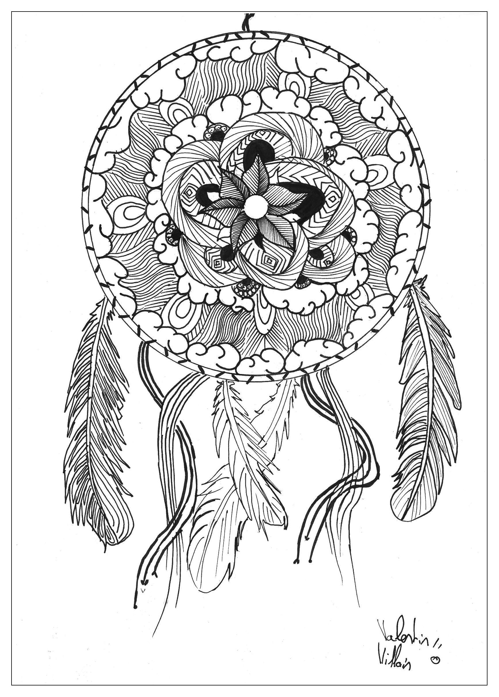 beautiful dreamcatcher in a mandala coloring page from the gallery mandalas artist - Abstract Coloring Pages Adults