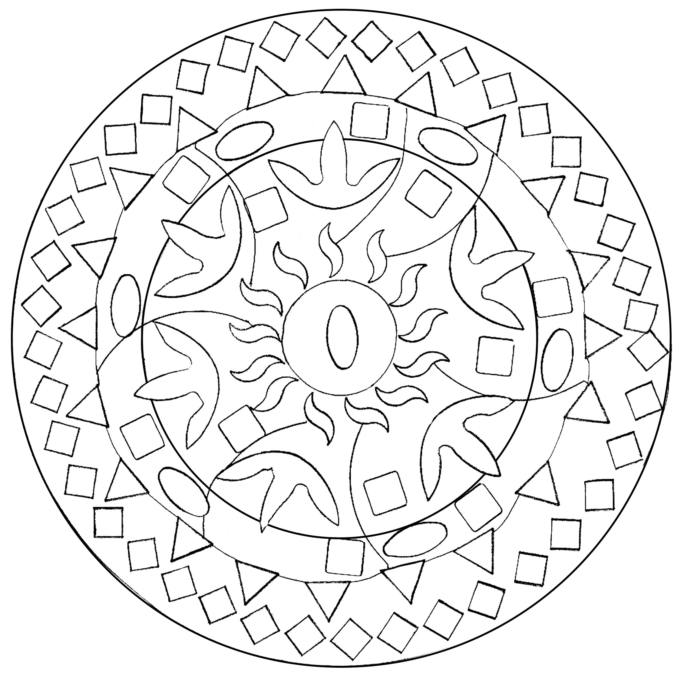 Easy abstract mandala - M&alas Adult Coloring Pages