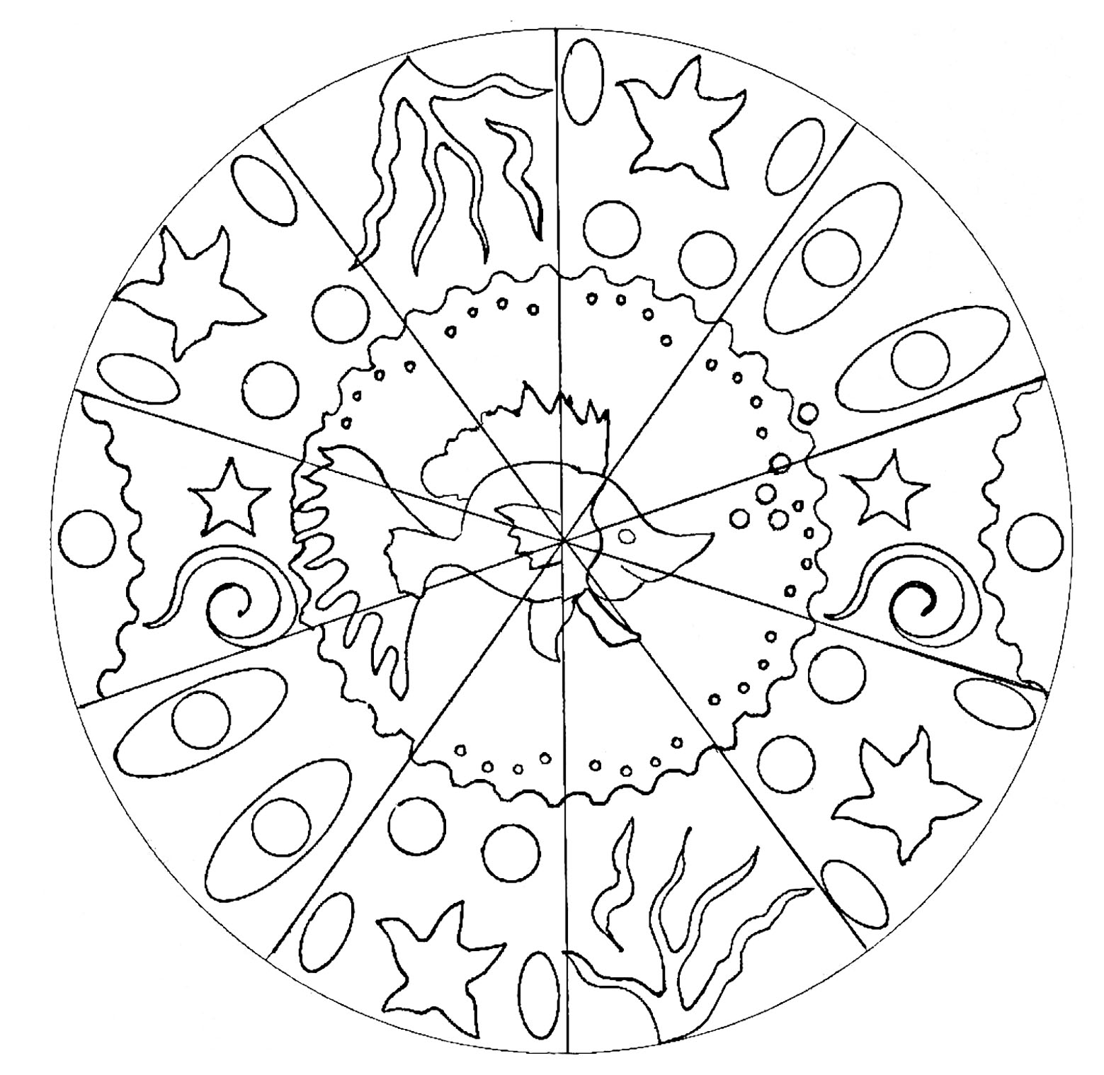 coloring page adult fish mandala free to print - Fish Coloring Pages For Adults