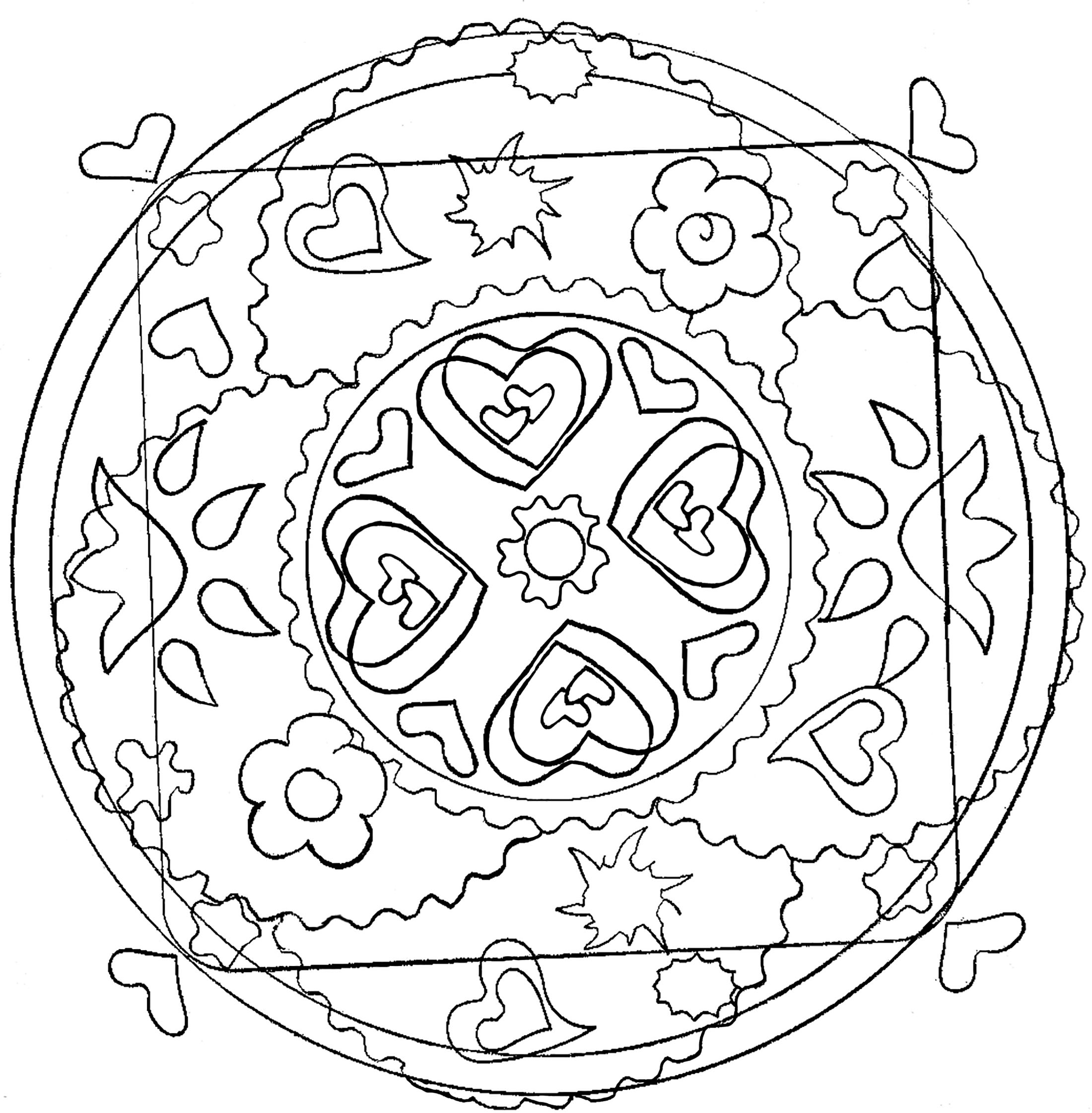 Hearts and flowers mandala - M&alas Adult Coloring Pages