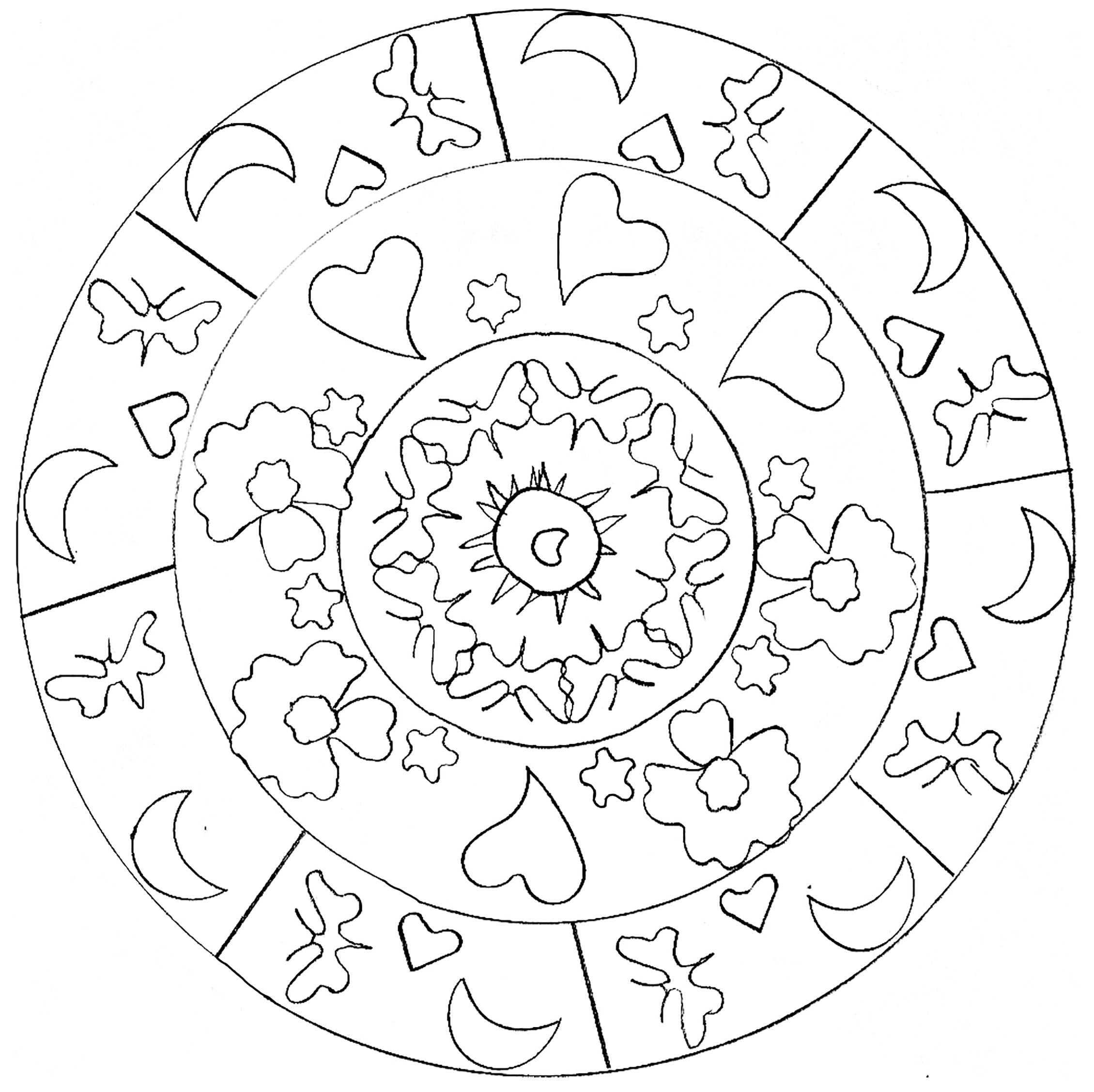 Coloring page adult hearts mandala