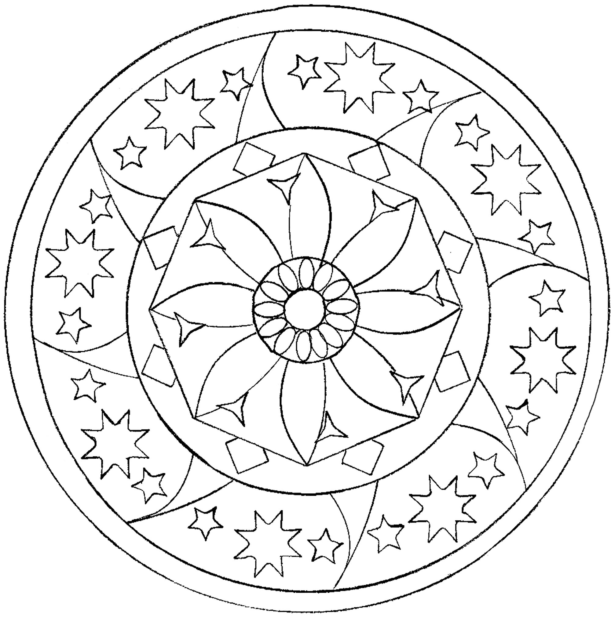 star mandala mandalas coloring pages for adults justcolor