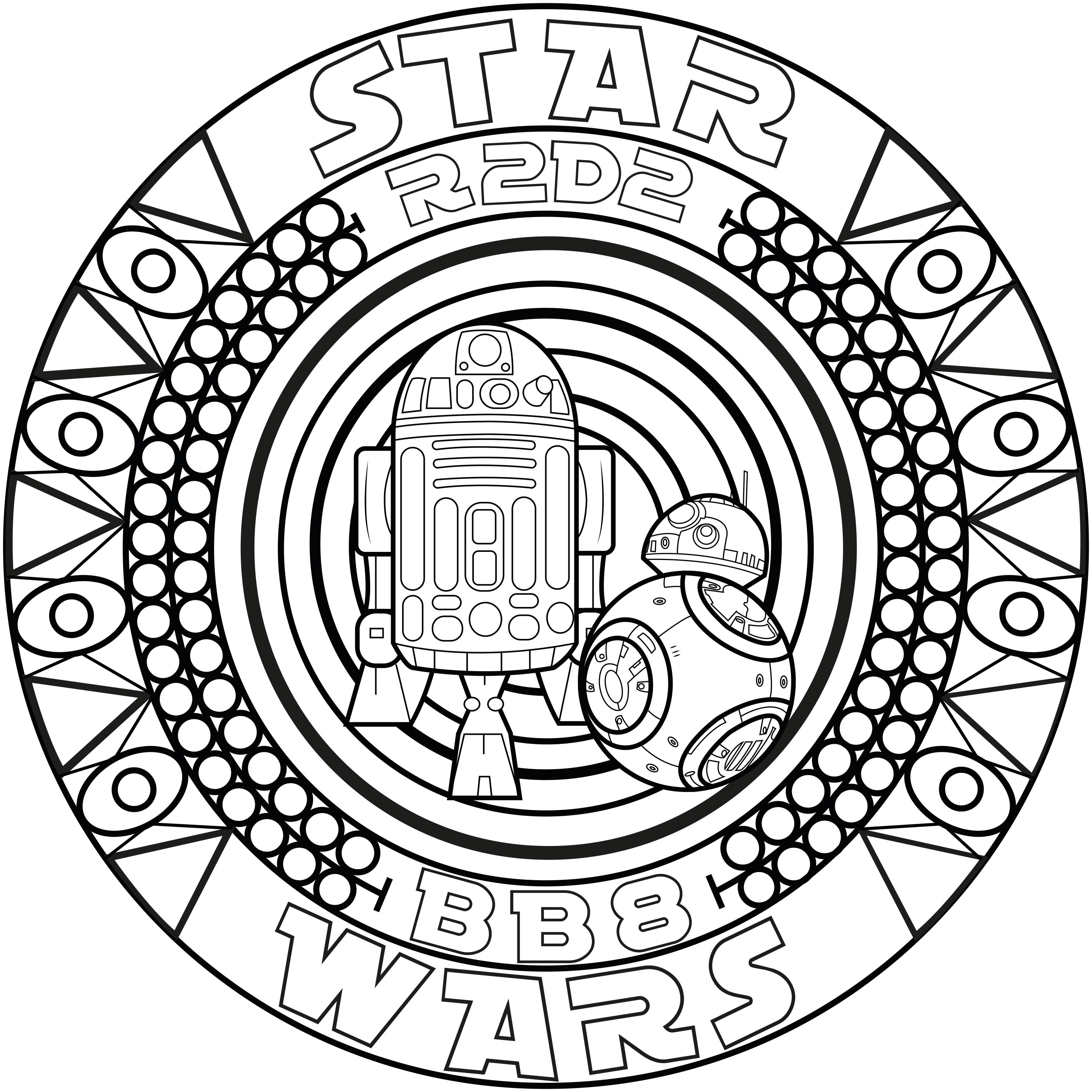 Coloring page adult mandala bb8 r2d2 by allan