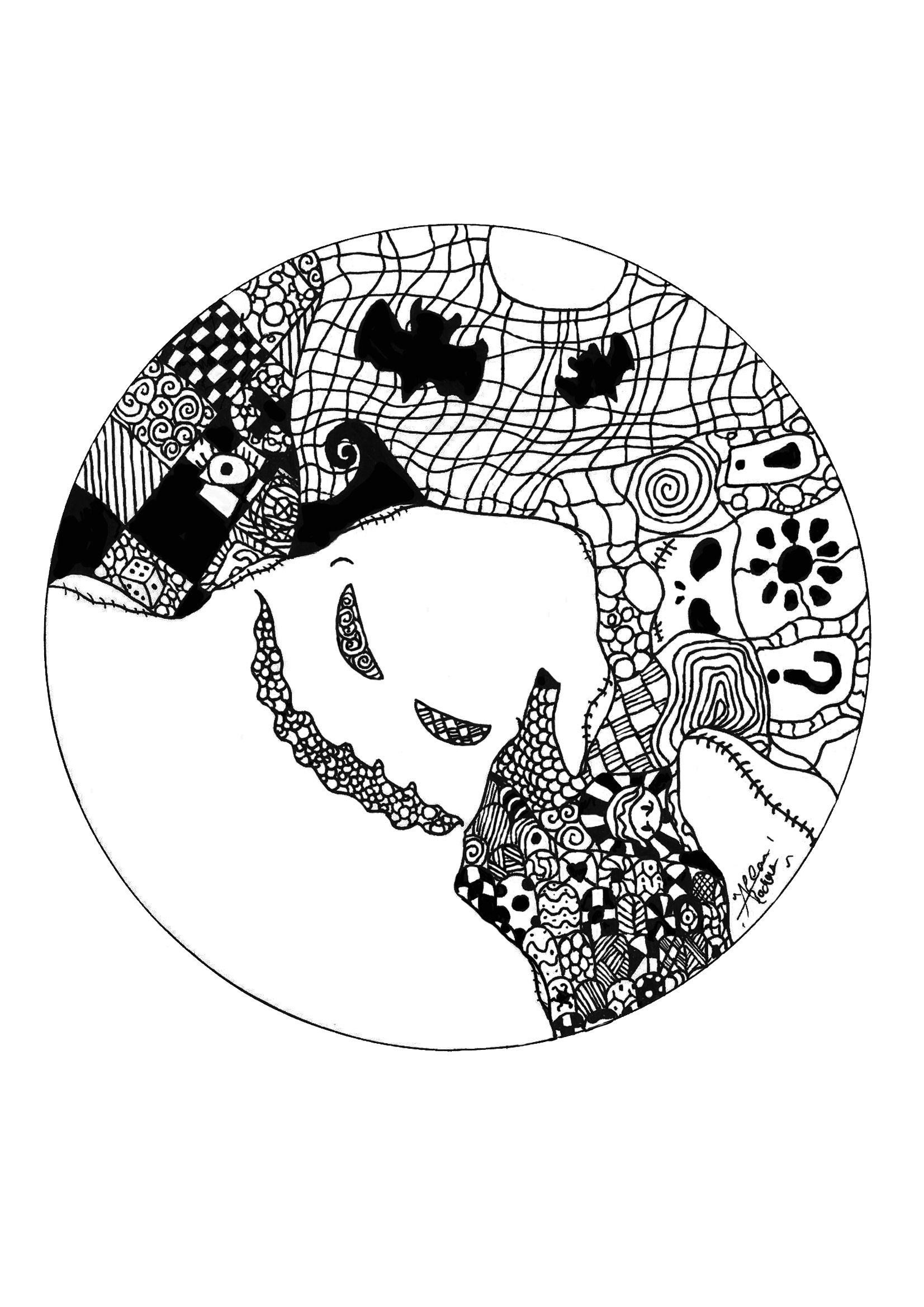 This Mandala on the Halloween theme is dreadful