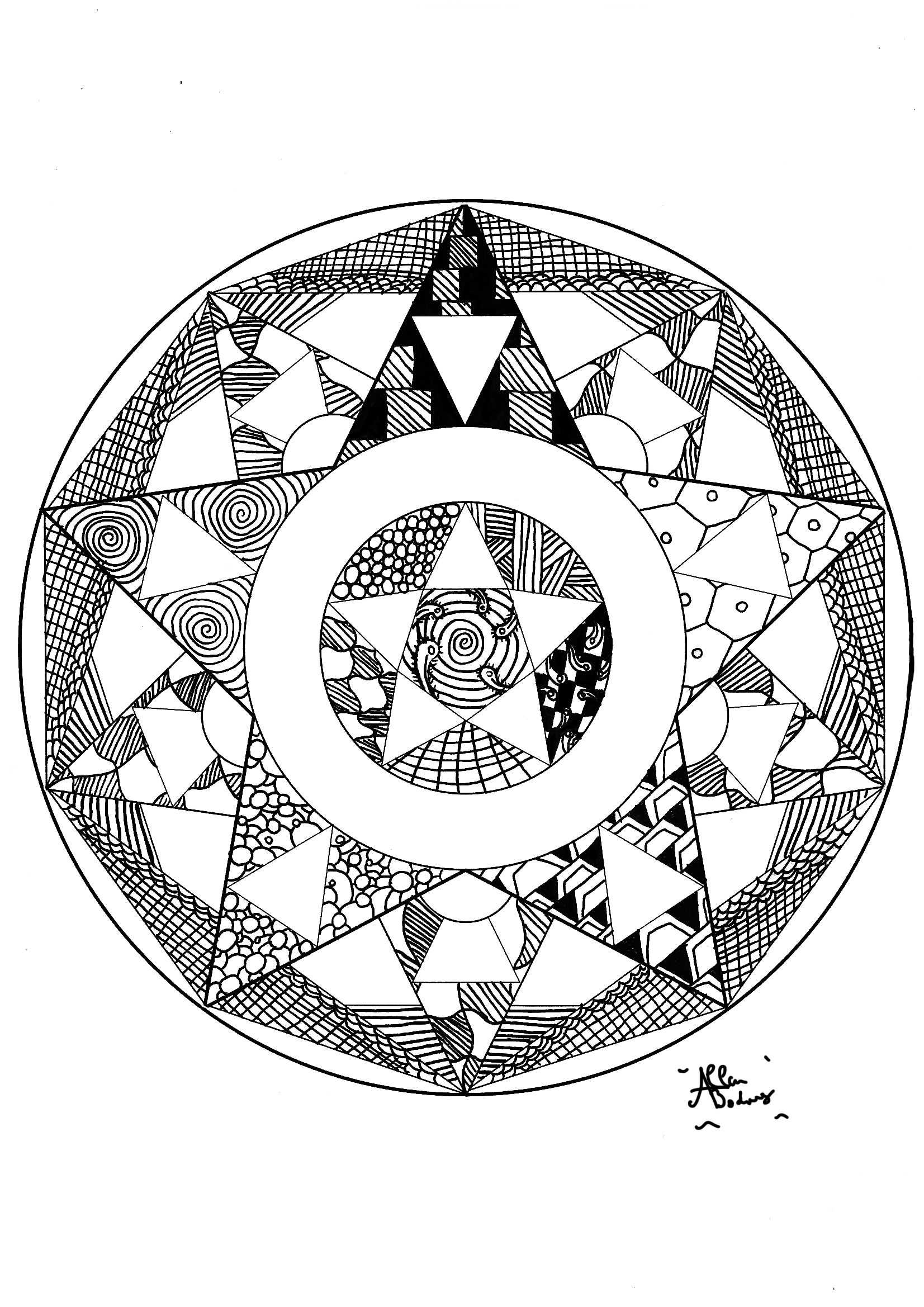 Ordinaire Coloring Page Adults Mandala Zen Free To Print