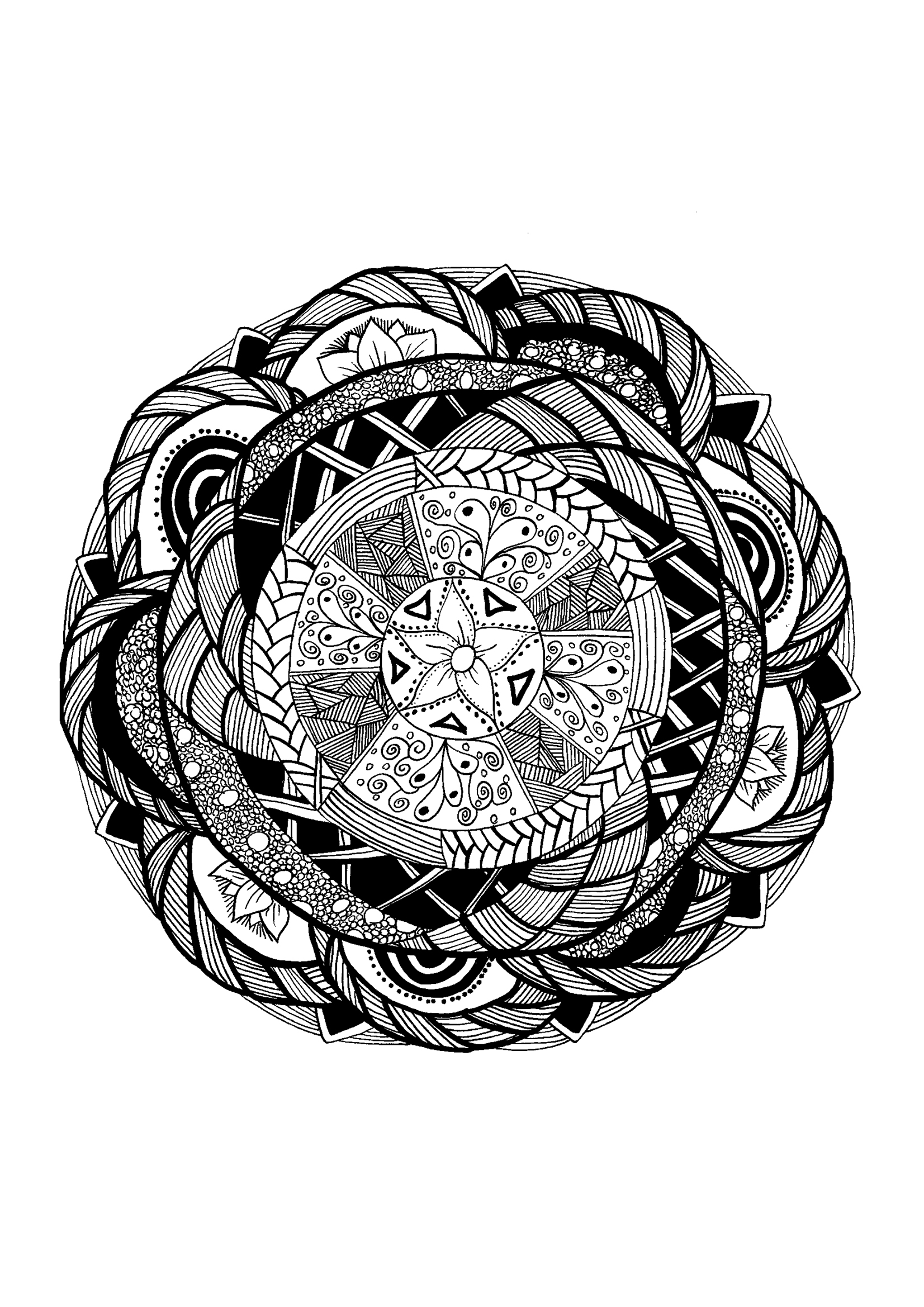 coloring page adults mandala zentangle celine