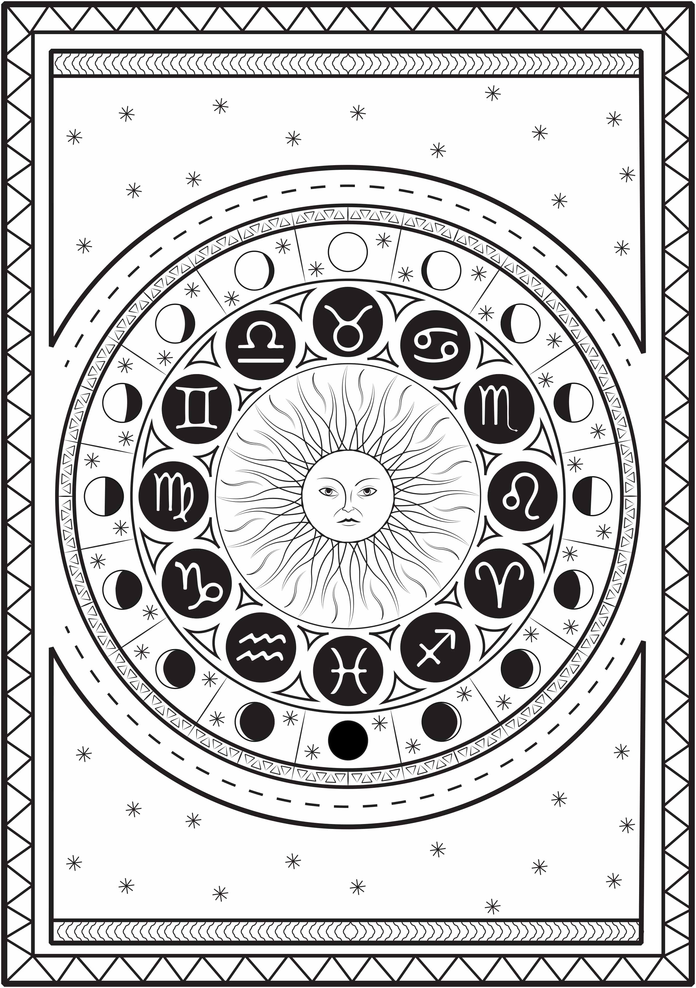 Mandala composed of astrological signs around a sun, with the cycle of the moon, on a starry background