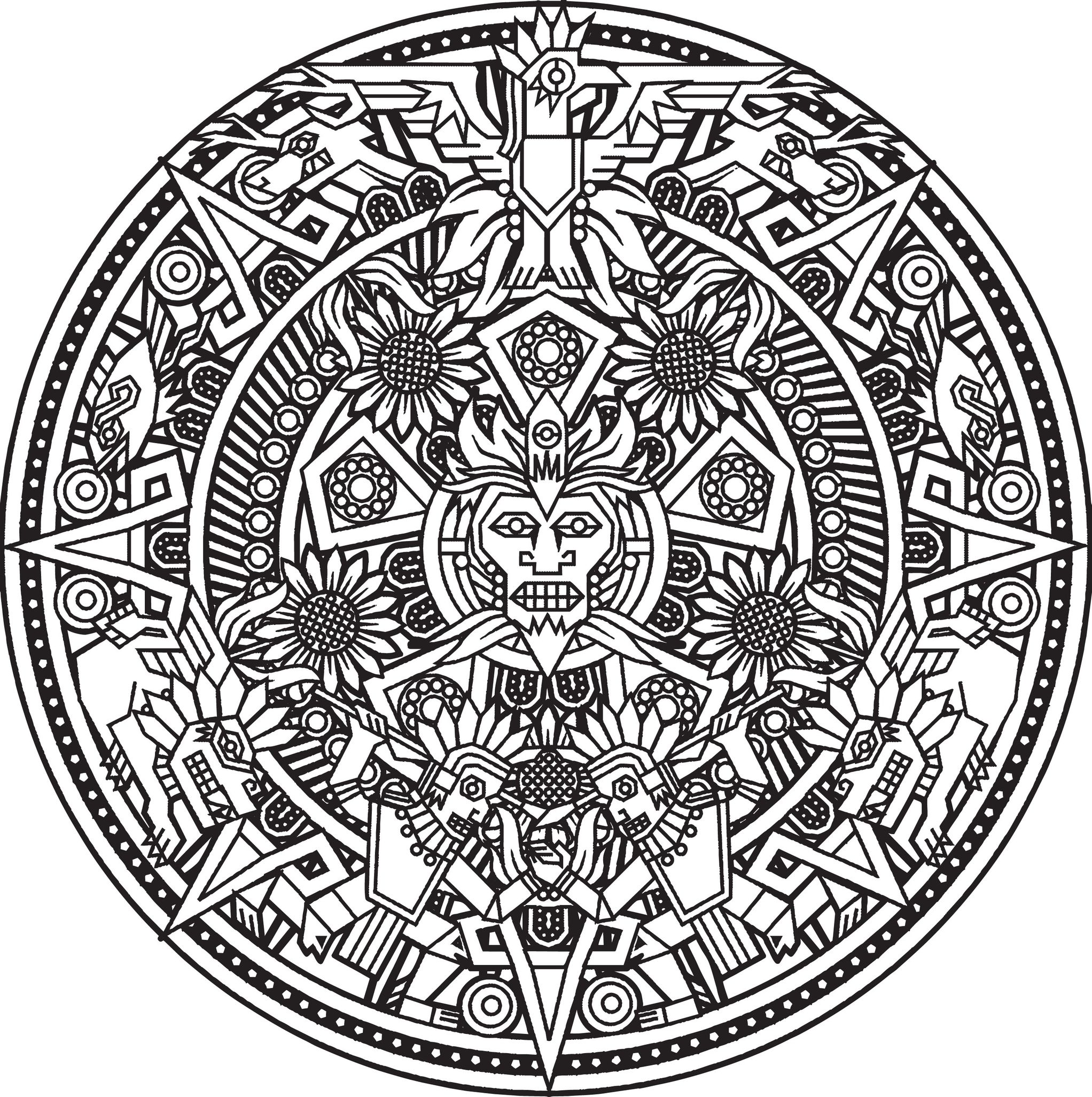 Coloring page mandala Inca or Maya God to color by Bigredlynx