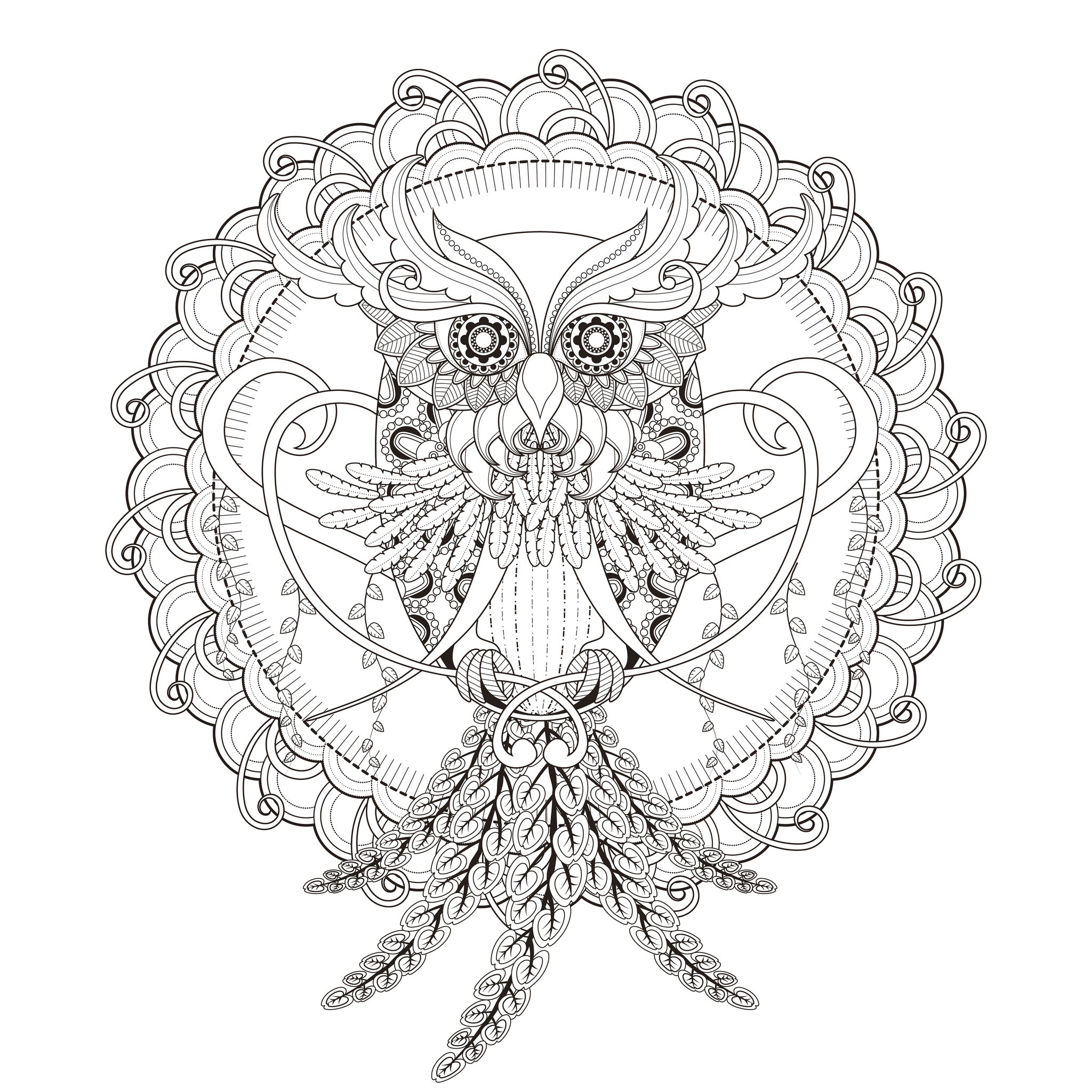 Mandala Owl by Kchung | Mandalas - Coloring pages for adults | JustColor