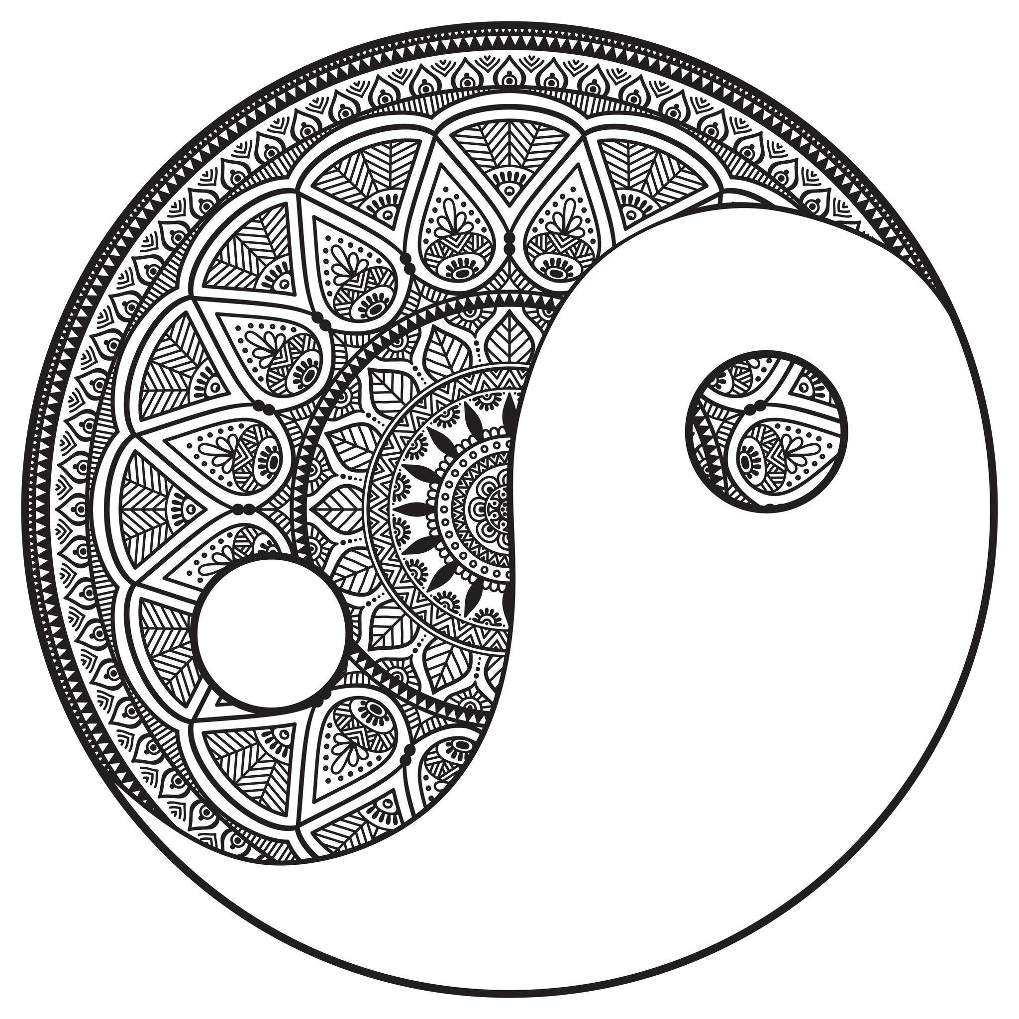 Mandala yin and yang to color by snezh Mandalas Coloring pages