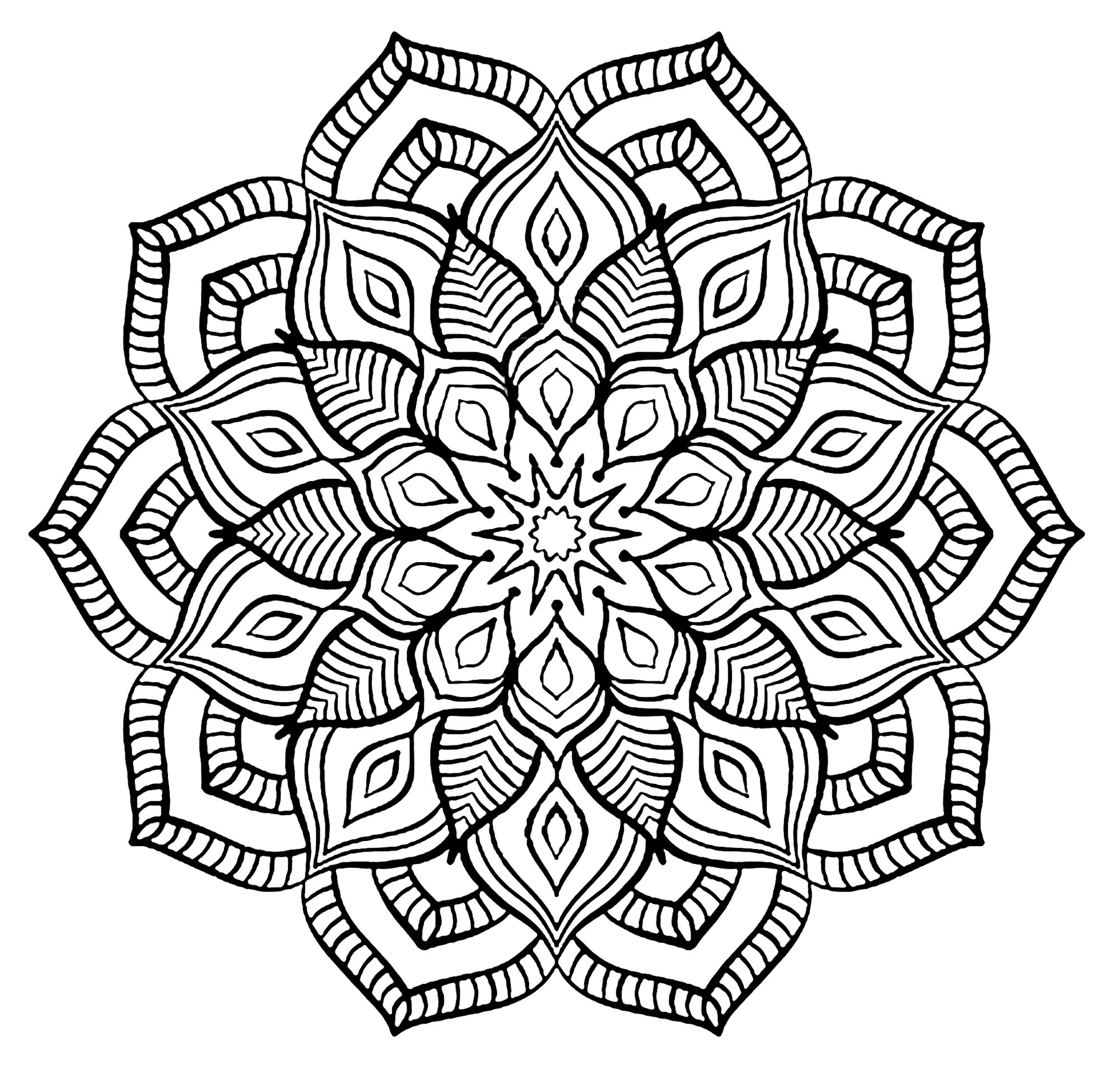 Mandala big flower Malas Adult Coloring Pages