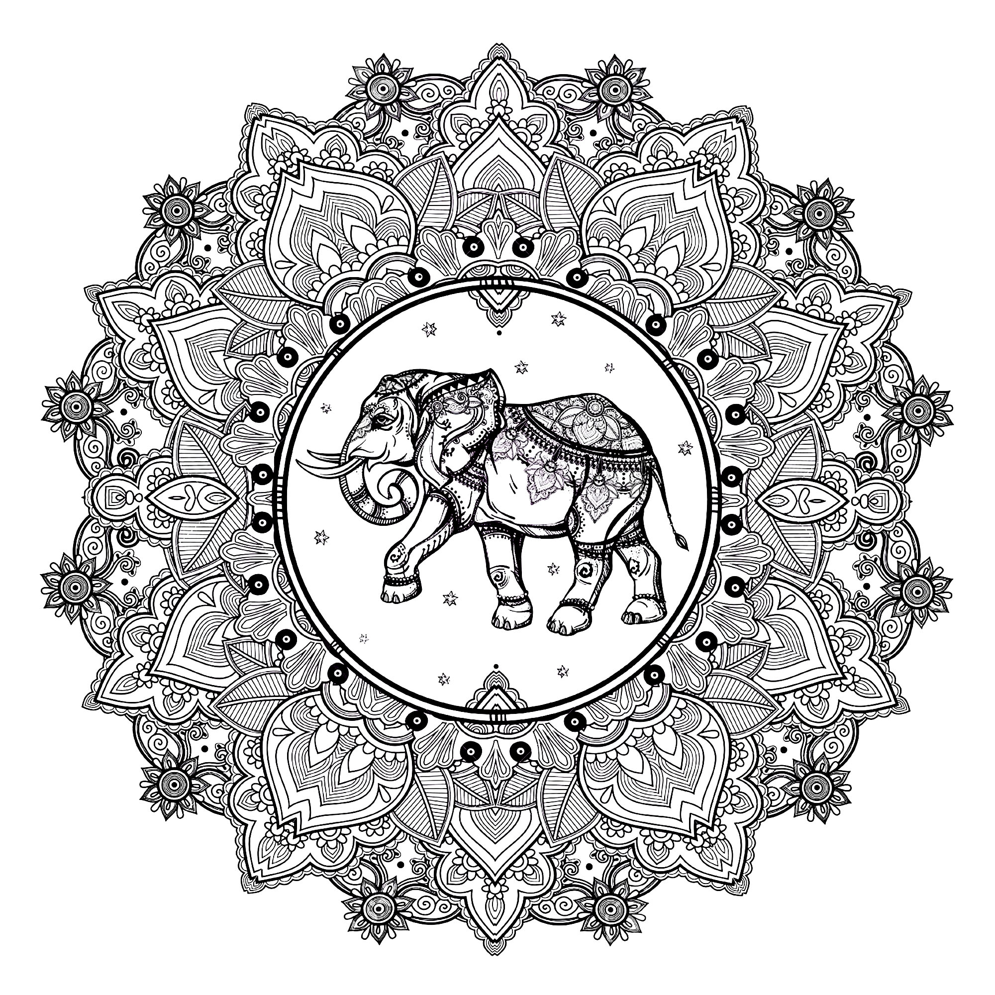 Mandala to print and color, with beautiful elephant in center
