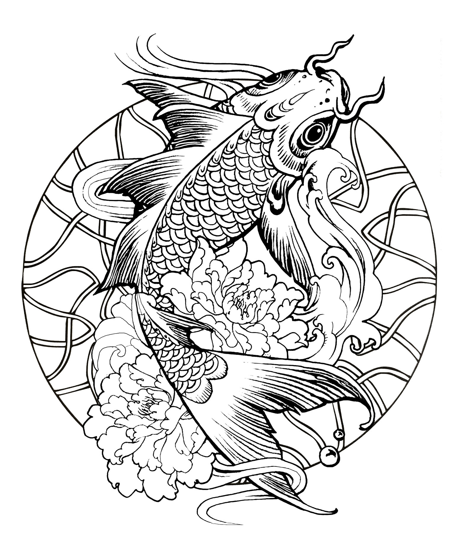 Mandala fish carp - M&alas Adult Coloring Pages