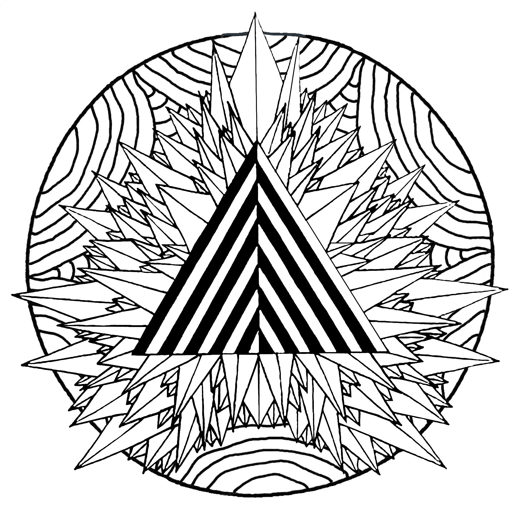 Mandala mystical triangle - M&alas Adult Coloring Pages