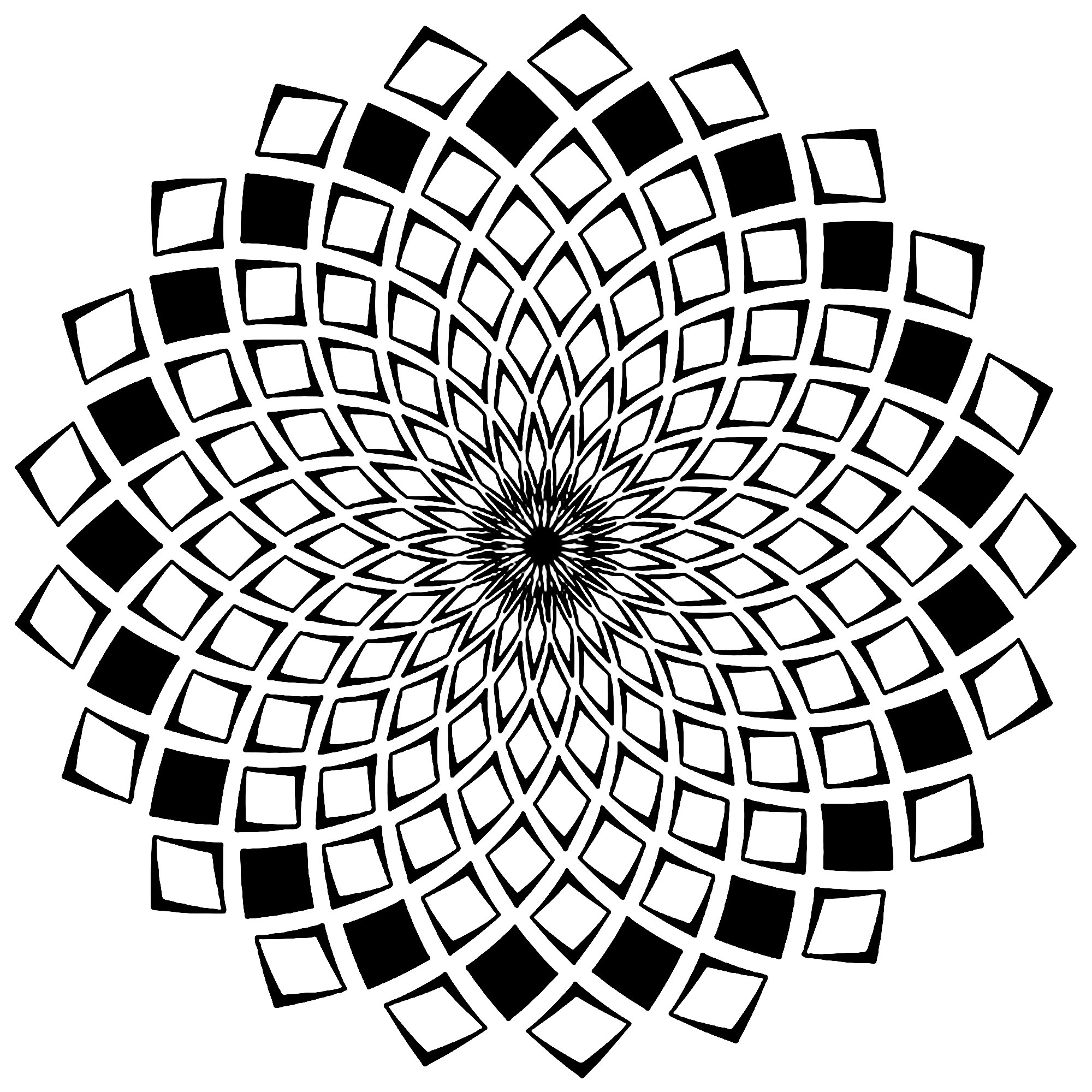 Mandala composed of little squares