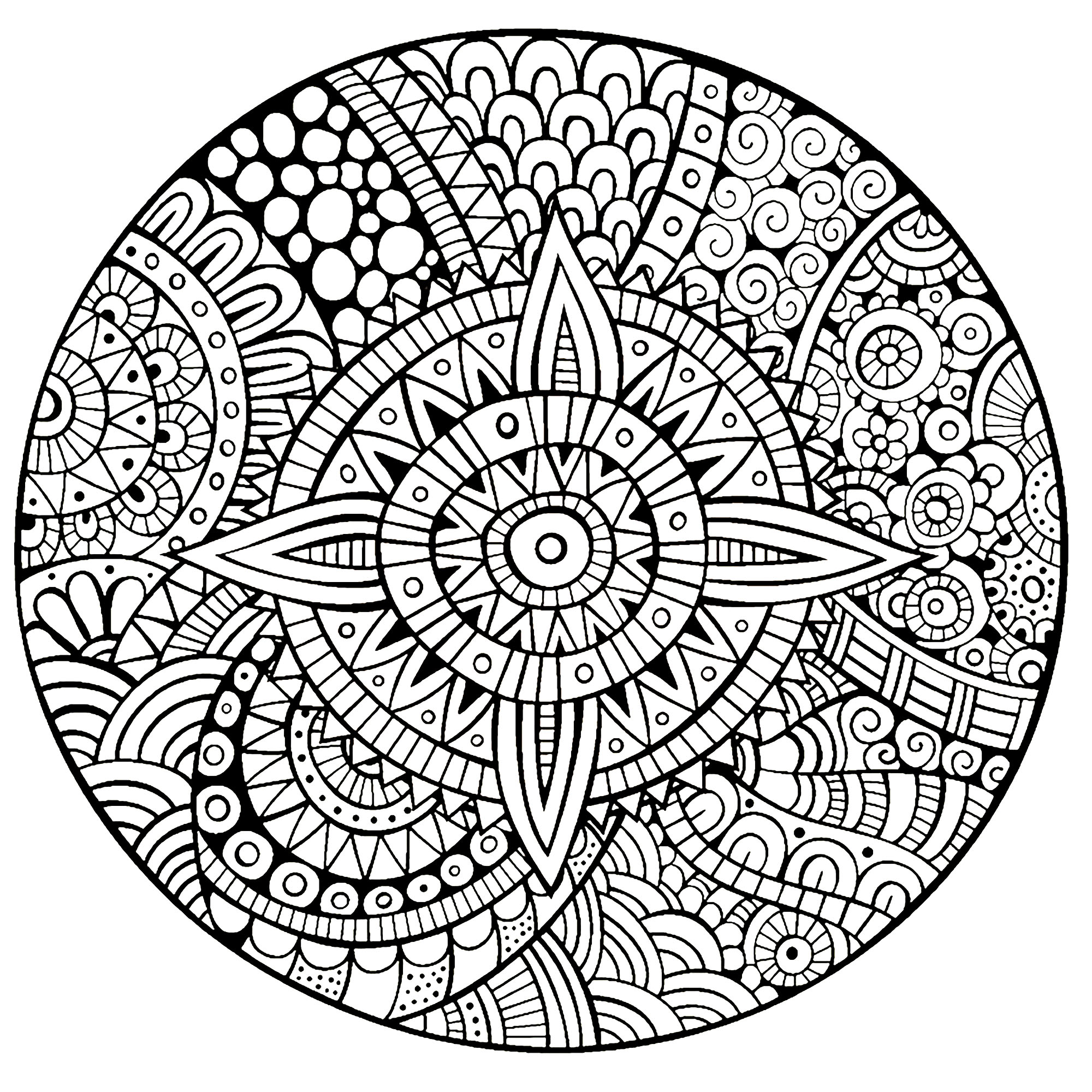 Coloring page mandala star thick lines