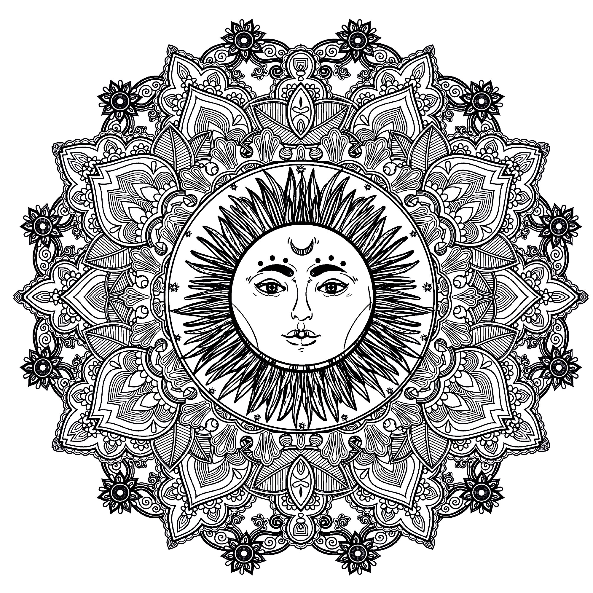 Mandala to color, with beautiful sun in center