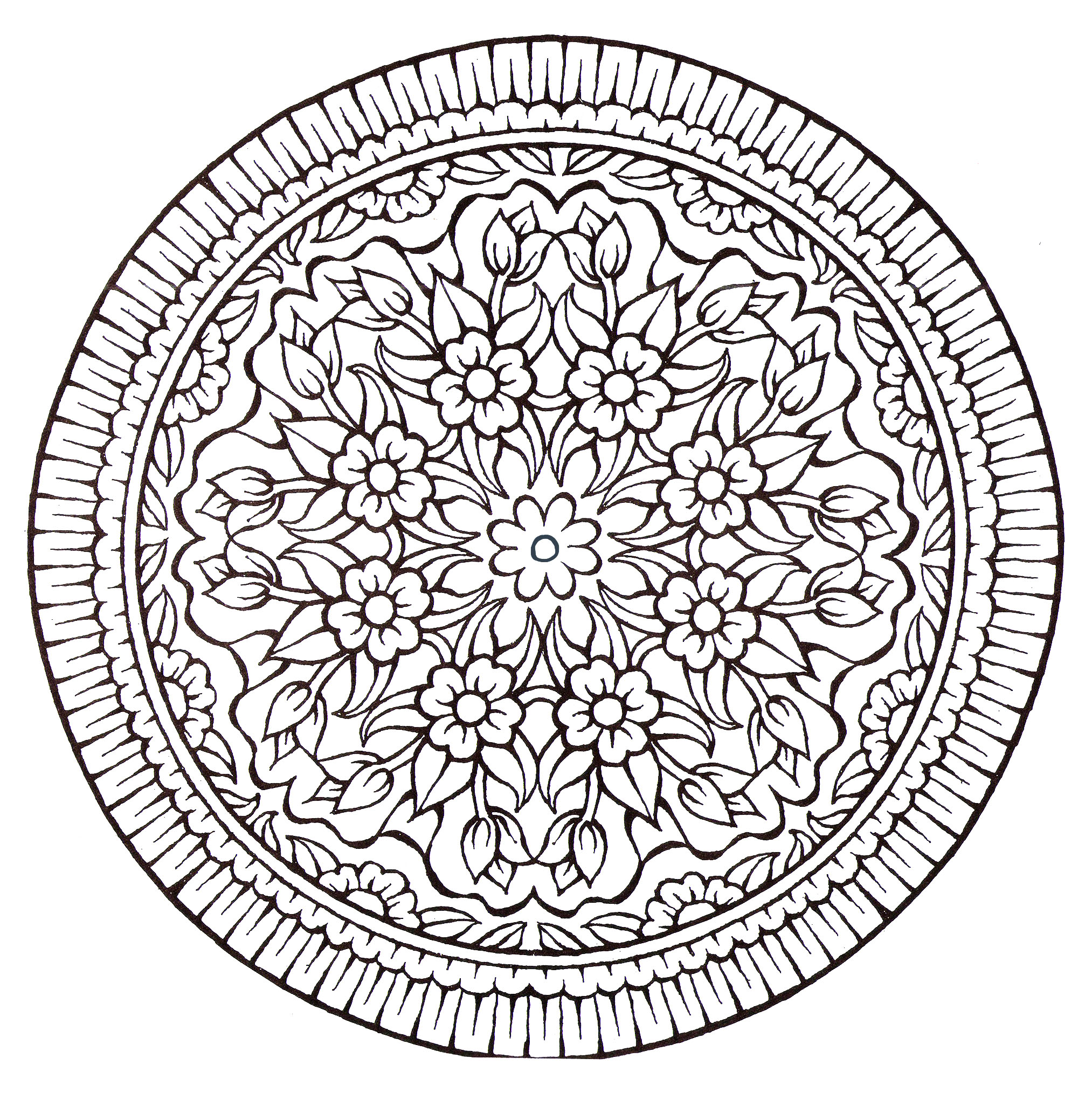 A Mandala very 'Vintage style', with a lot of flowers