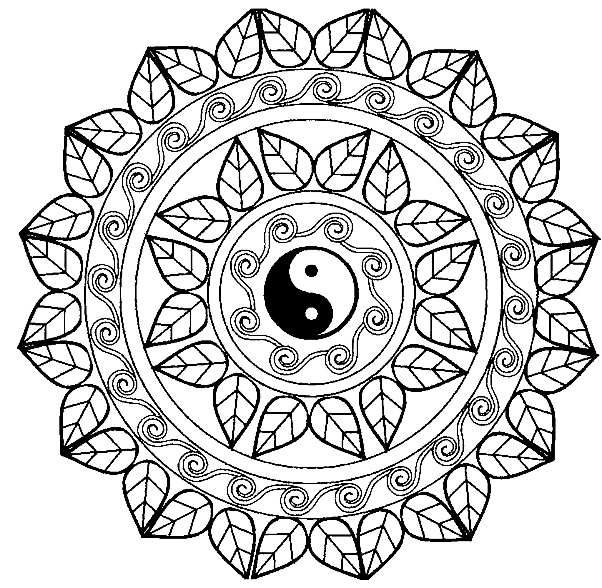 Mandala yin yang Malas Adult Coloring Pages