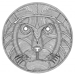 coloring free mandala difficult for adult to print : lion