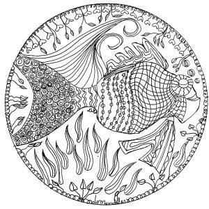 coloring page mandala fish