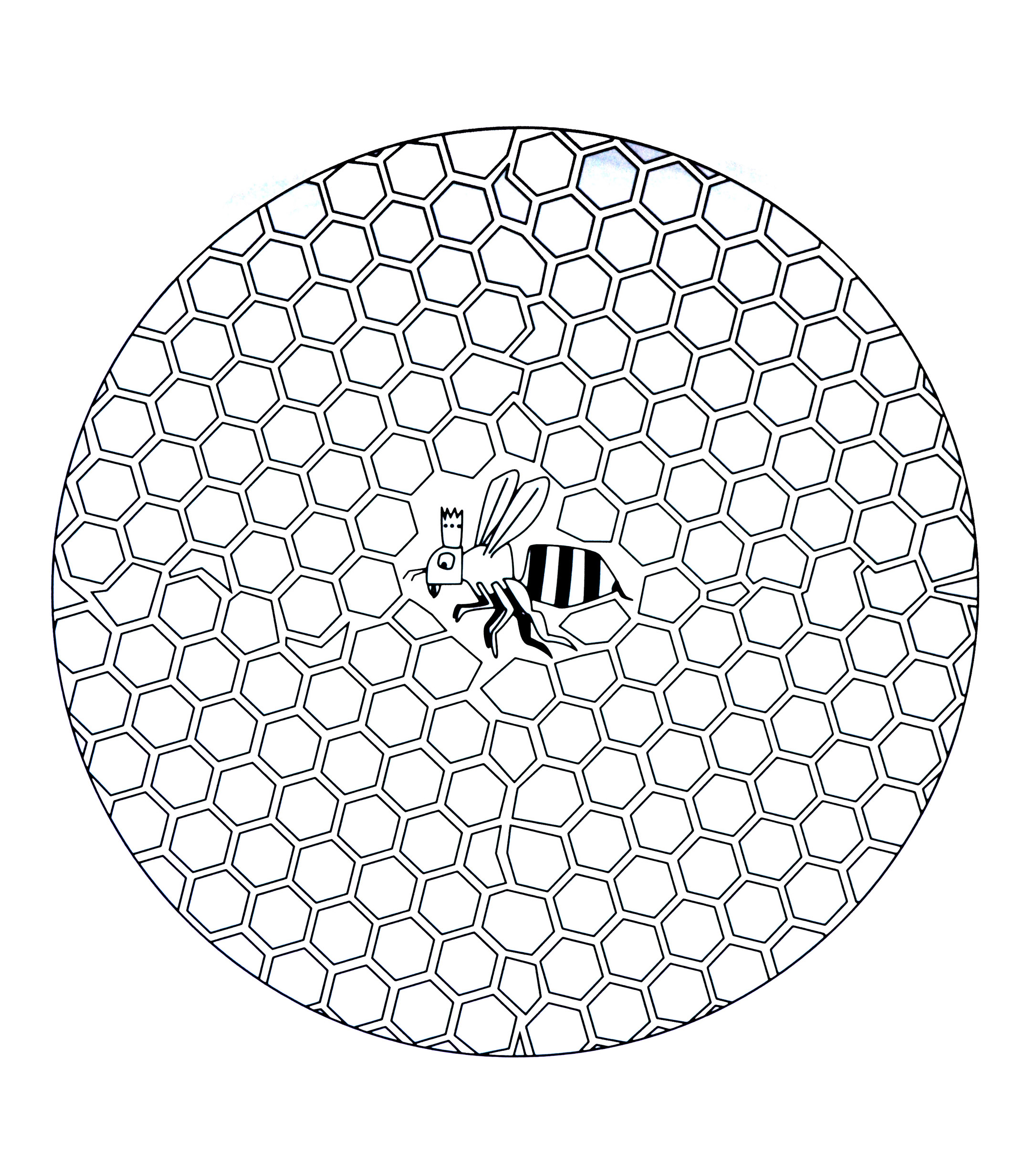 Free mandala to color : bee in hive