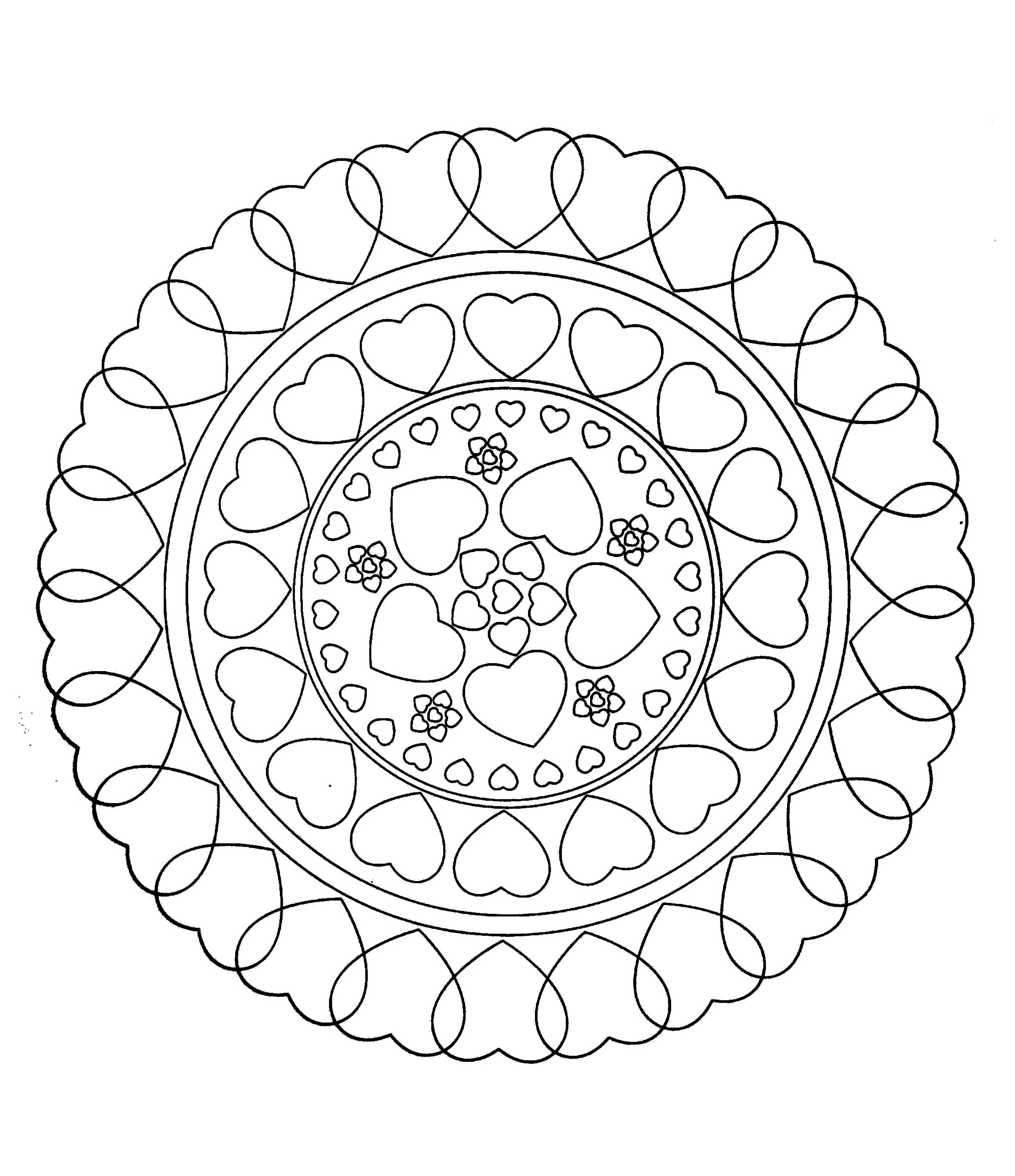 Free Mandala To Color Hearts Love