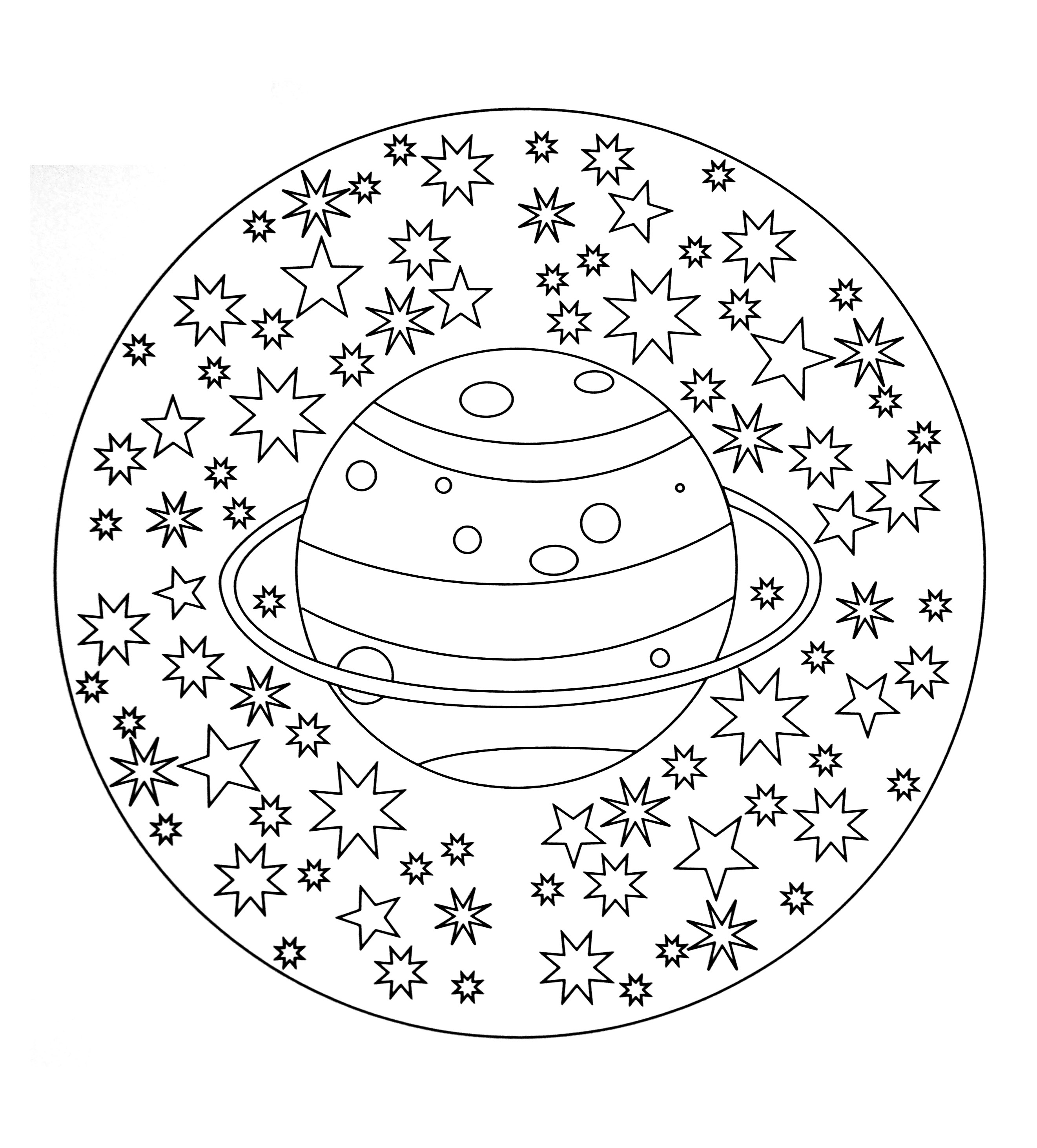 Free Mandala To Color Planet Stars