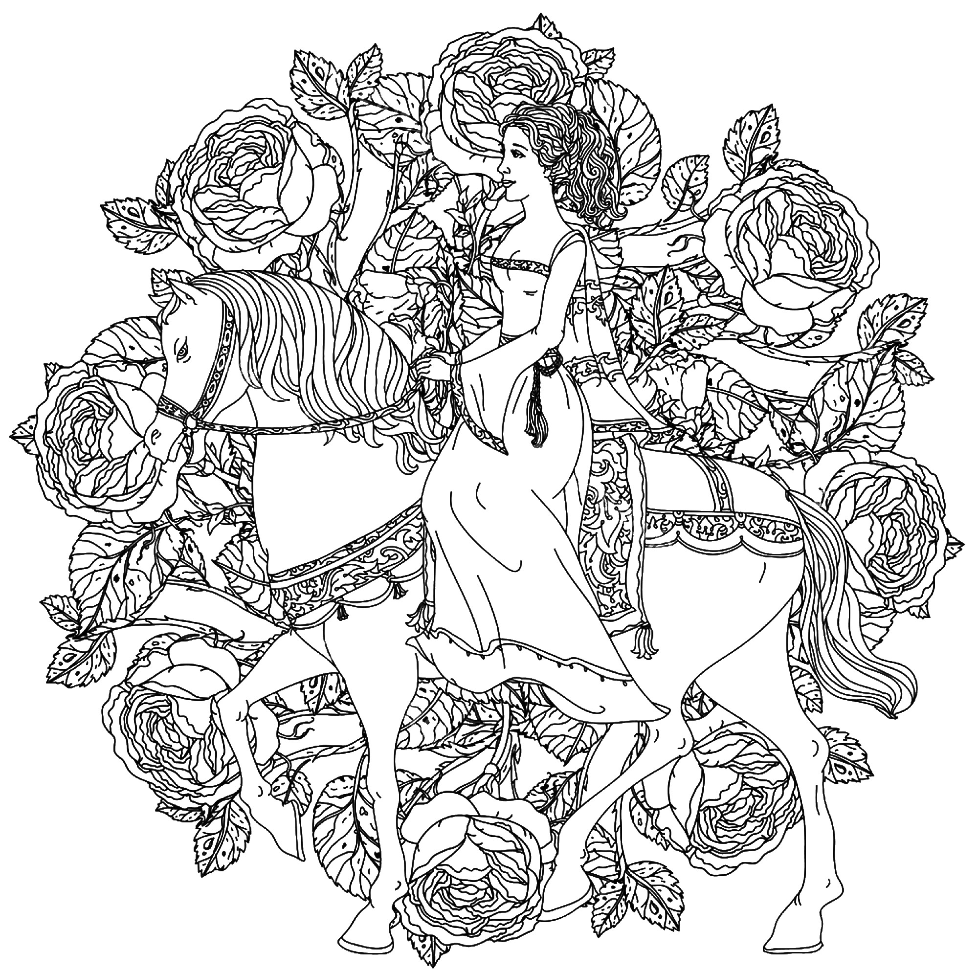 A beautiful and elegant Princess, riding her white horse, in the center of a Mandala compose of roses