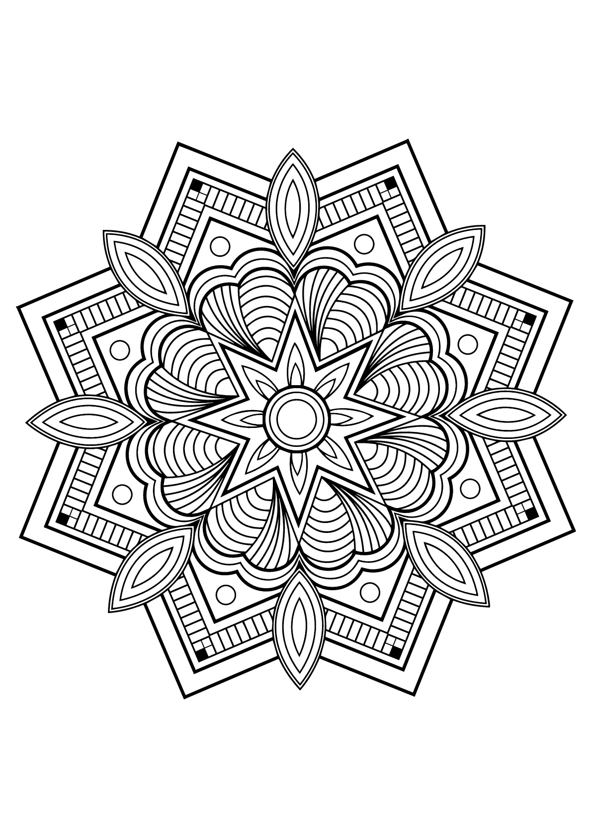 Exclusive Mandala from Free Coloring book for adults