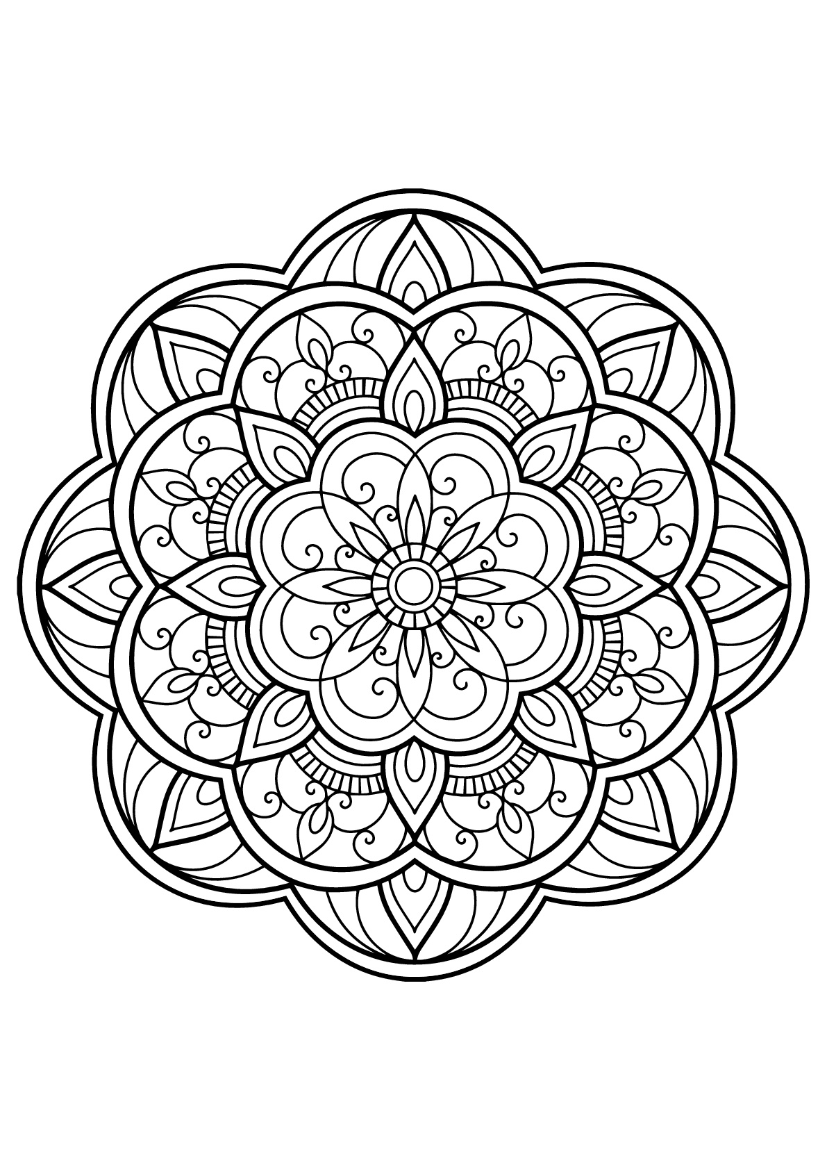 mandala with rounded patterns from free coloring book for adults - Free Coloring Book Pictures